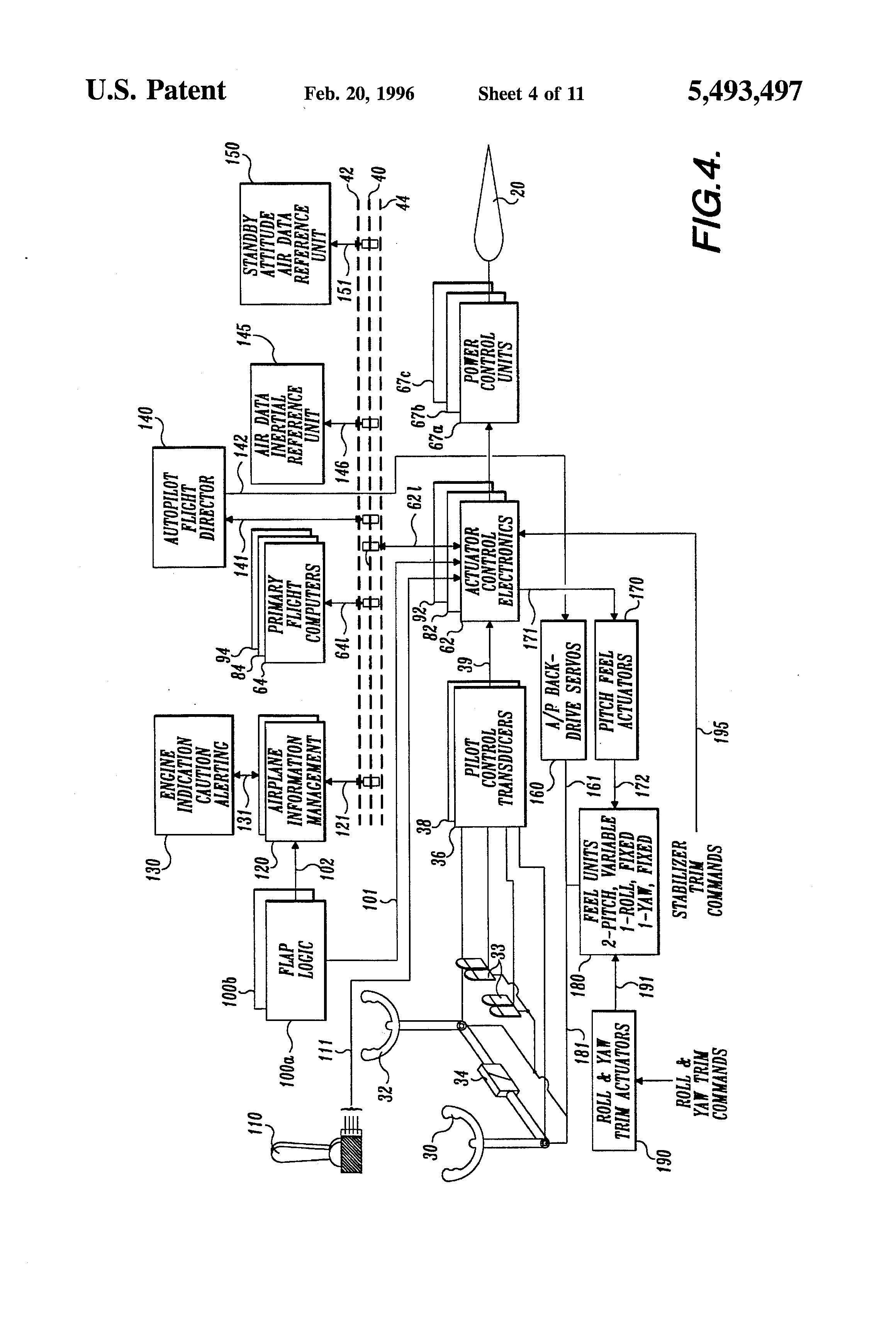 Patent Us5493497 Multiaxis Redundant Fly By Wire Primary Flight 1987 Gulfstream Wiring Diagram Drawing