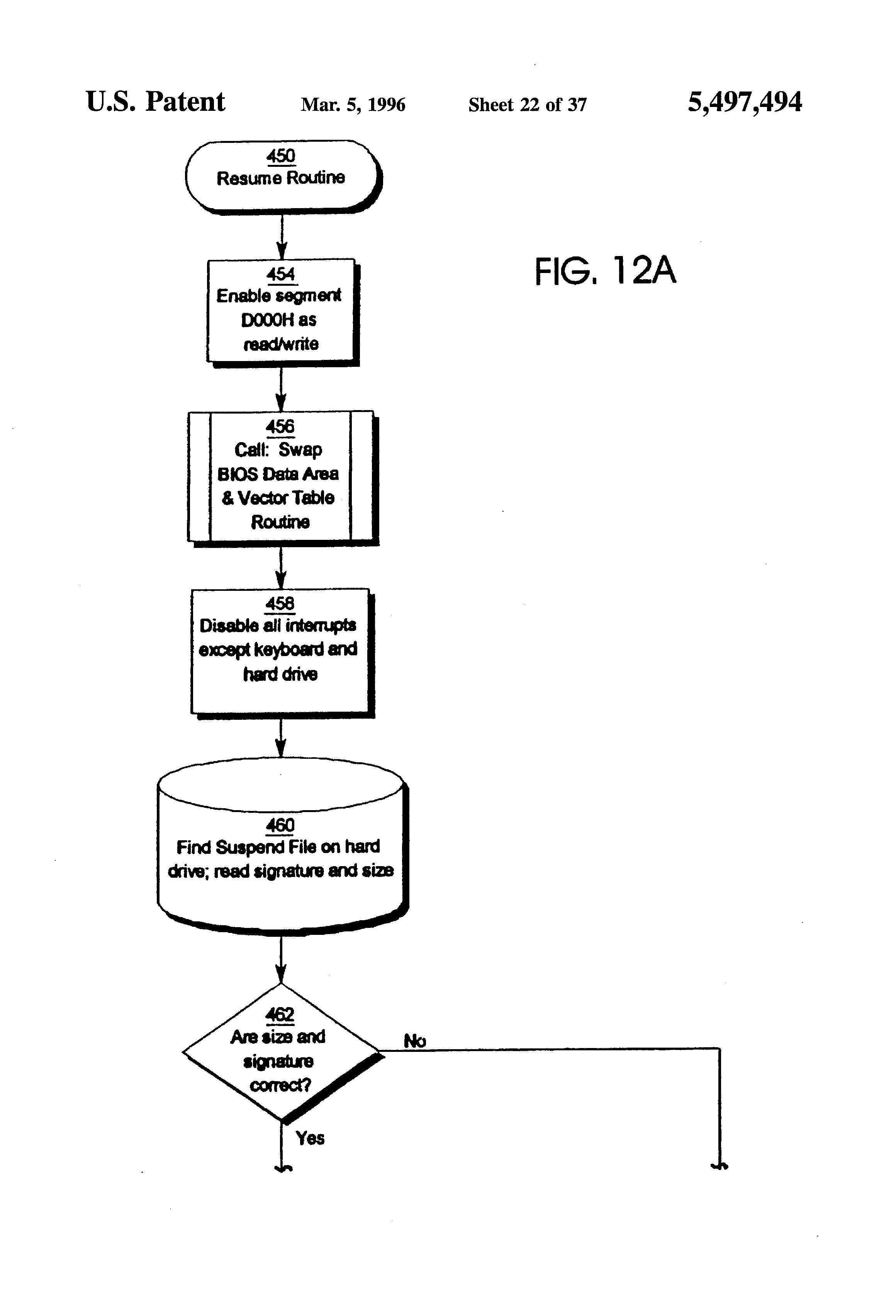 Patent US5497494 Method for saving and restoring the state of a