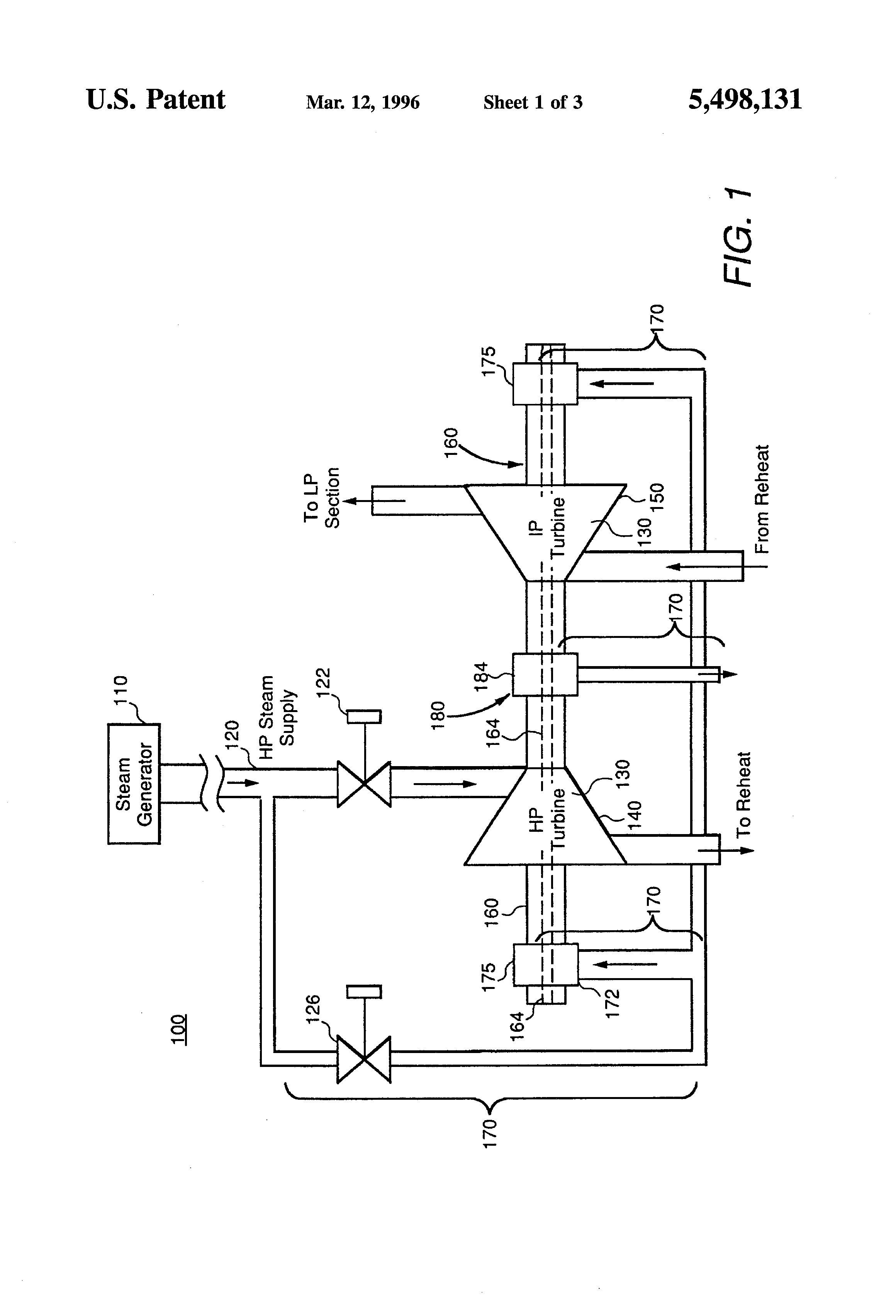 Patent US Steam turbine with thermal stress reduction