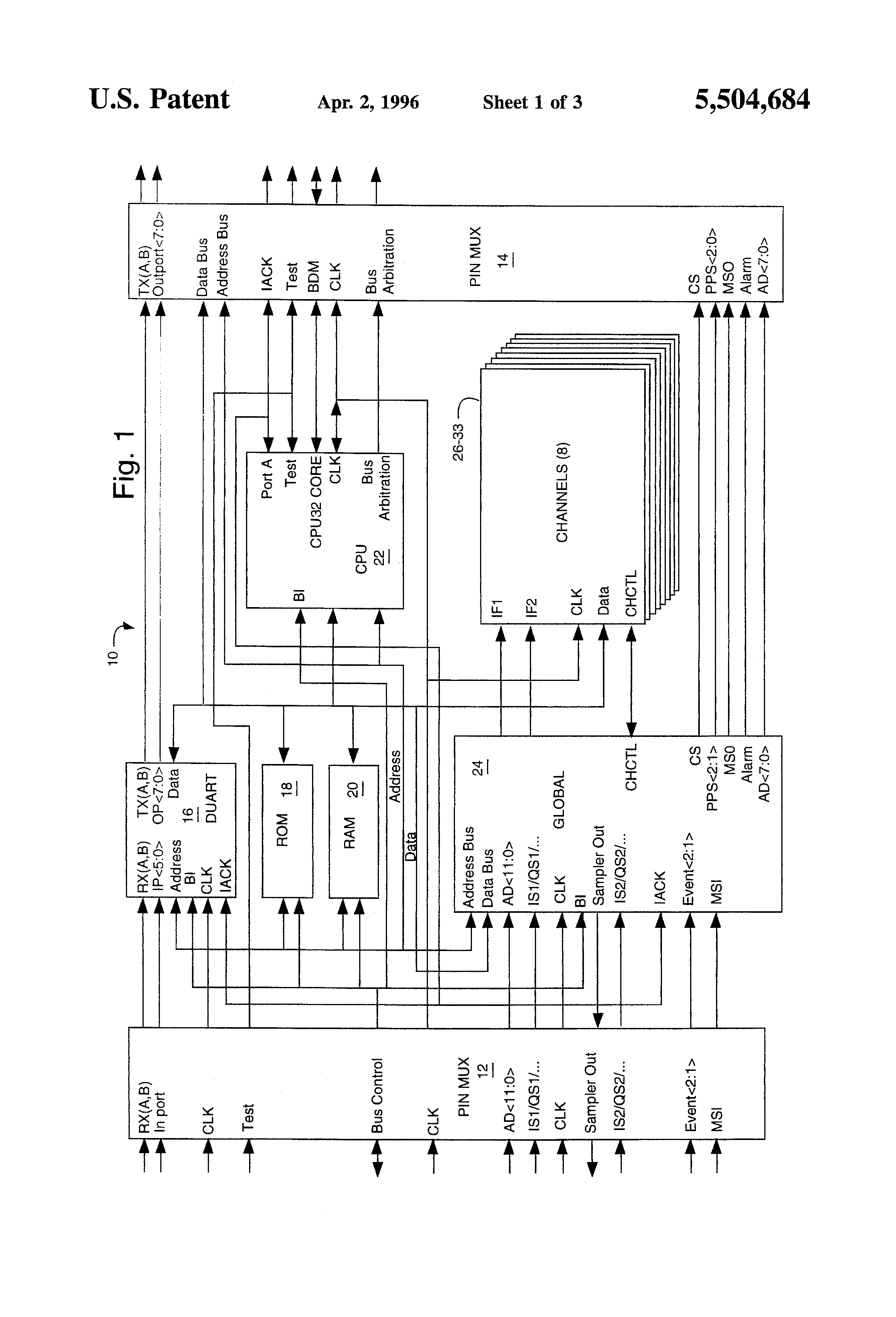 patent us5504684 - single-chip gps receiver digital signal processing and microcomputer