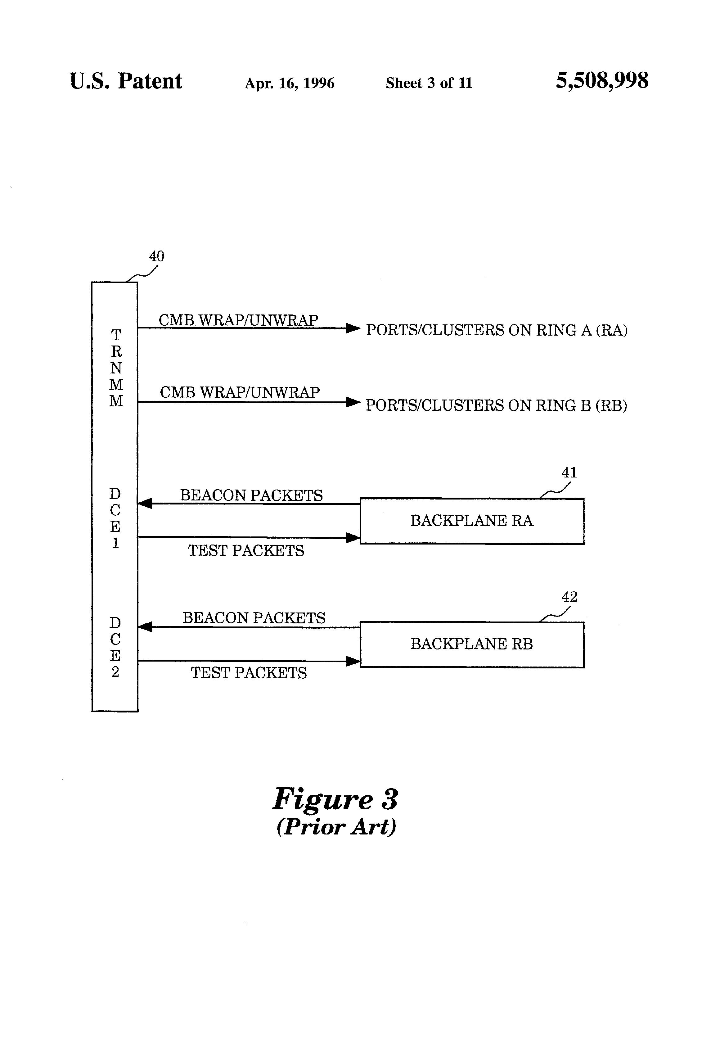 براءة الاختراع US5508998 - Remote token ring beacon station