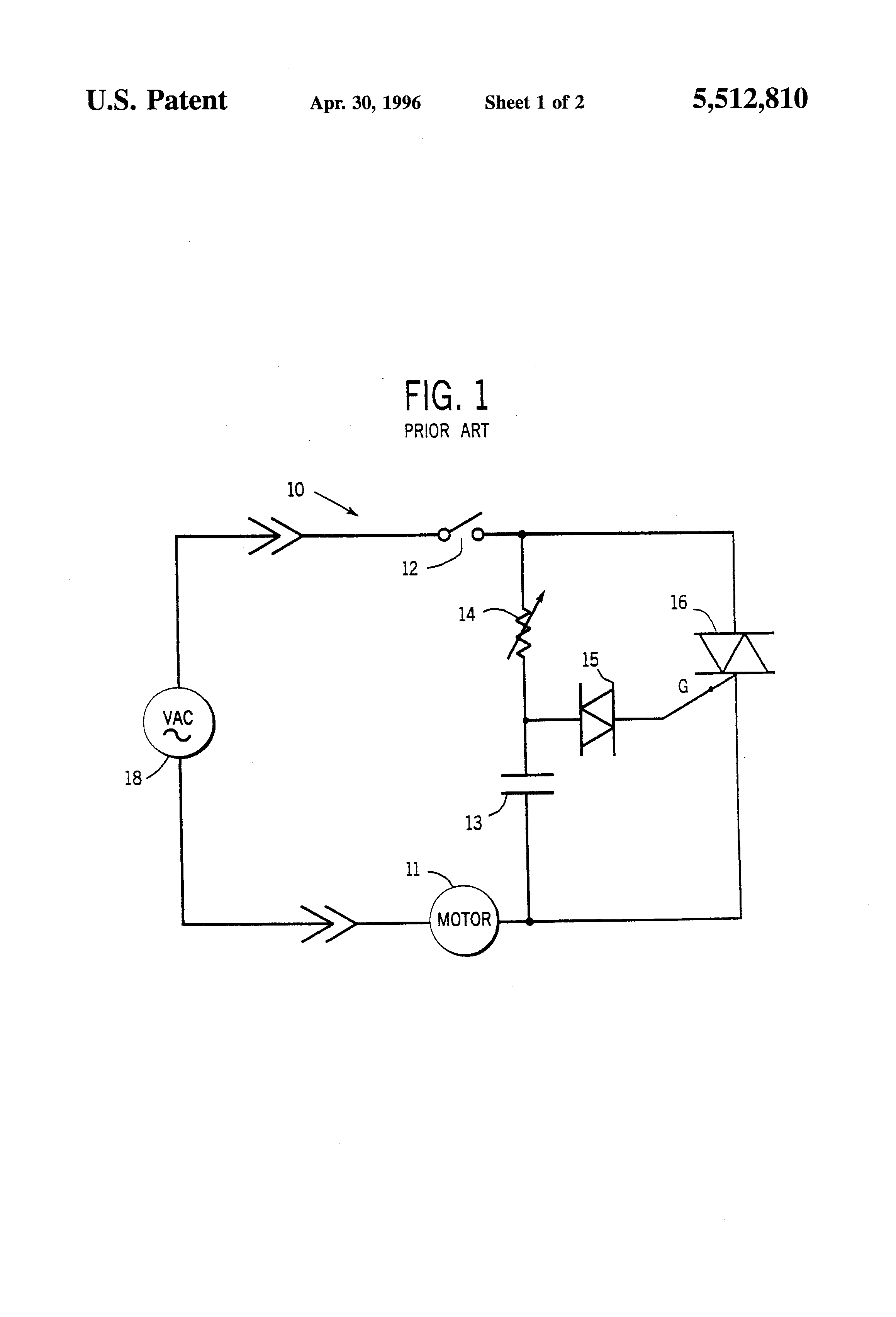 Patent Us5512810 Variable Speed Control For A Hand Held Electric Ac Motor Circuit Reversing Polarity Dc Drawing