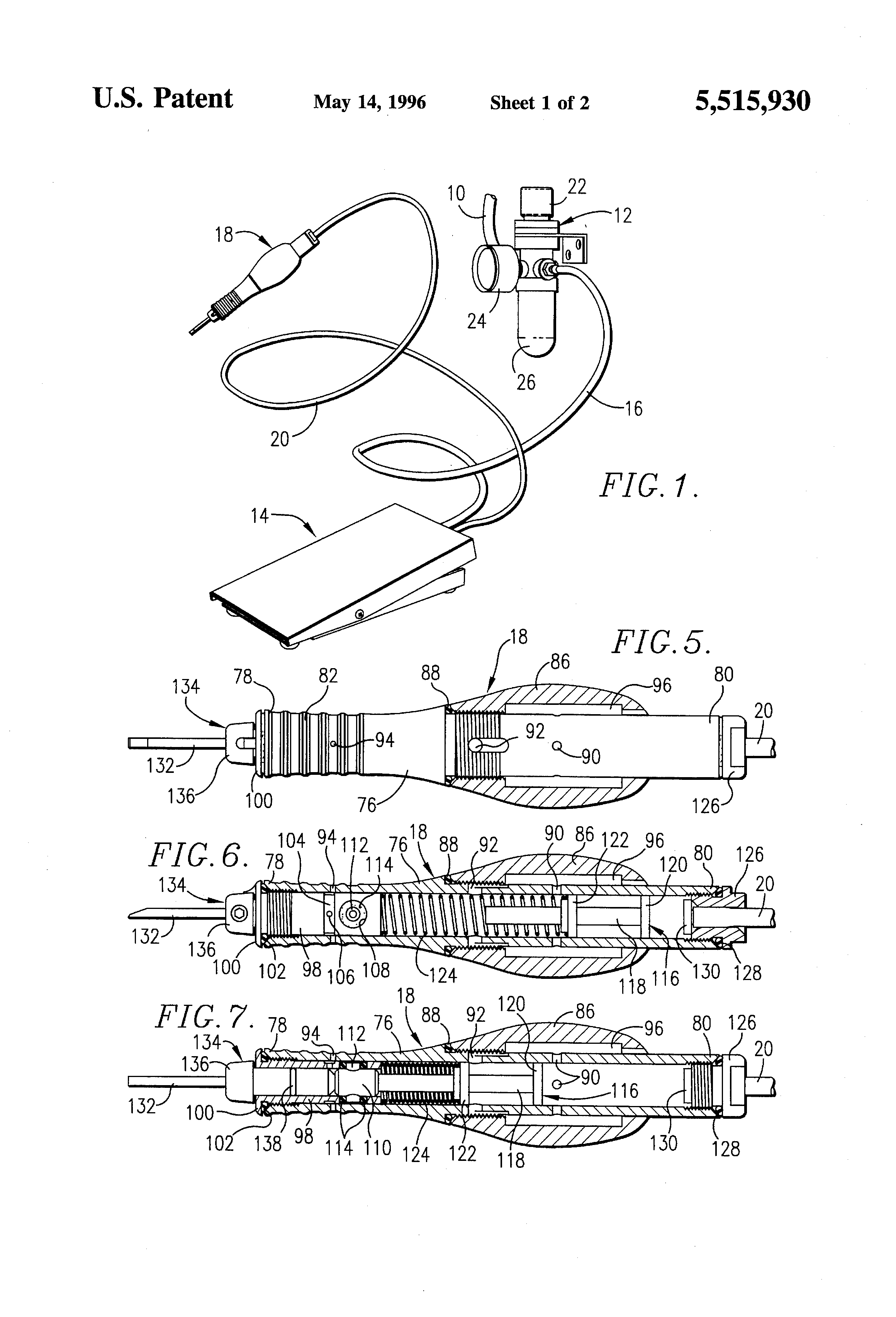 patent us5515930 - handheld pneumatic power tool apparatus