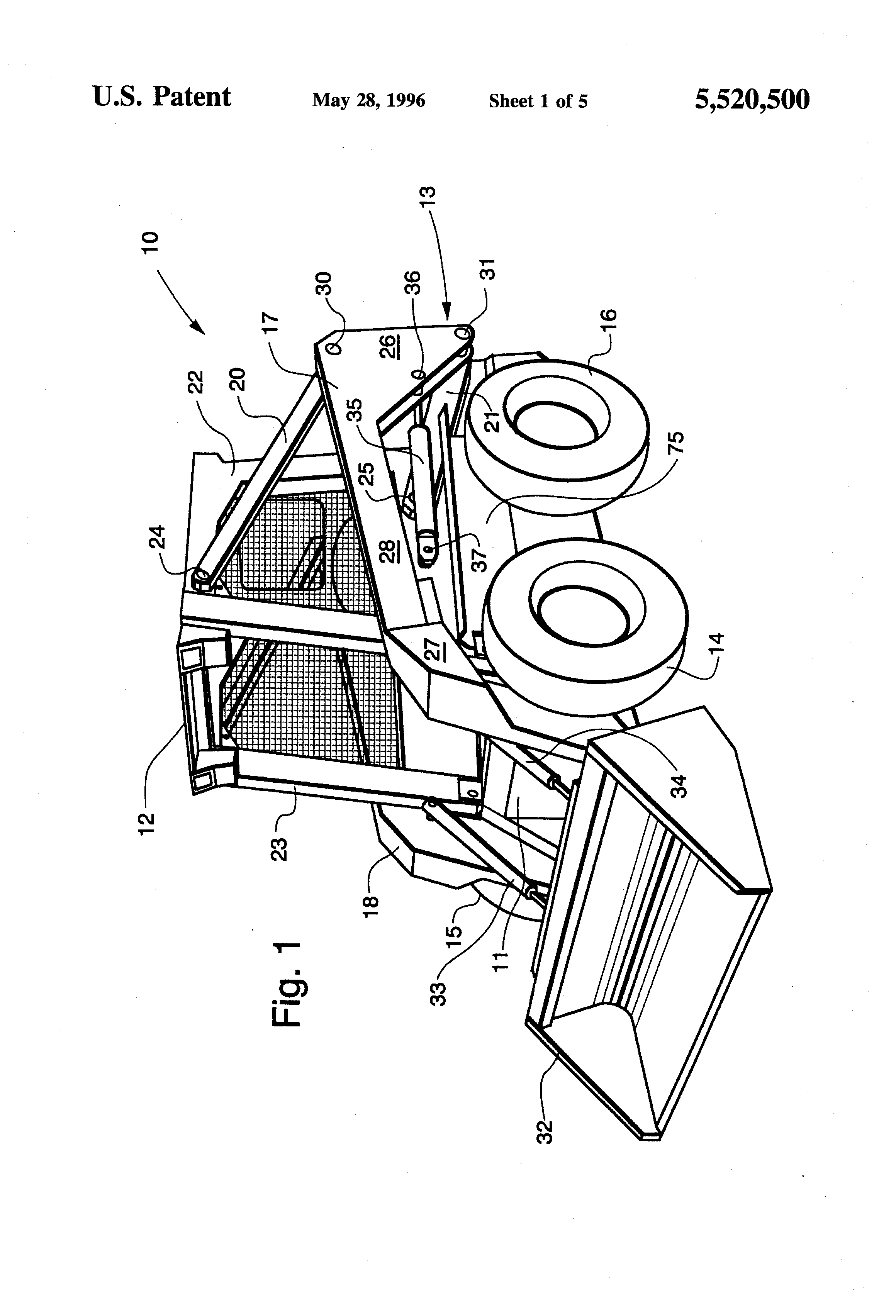 Patent US5520500 - Method and apparatus for tilting a skid
