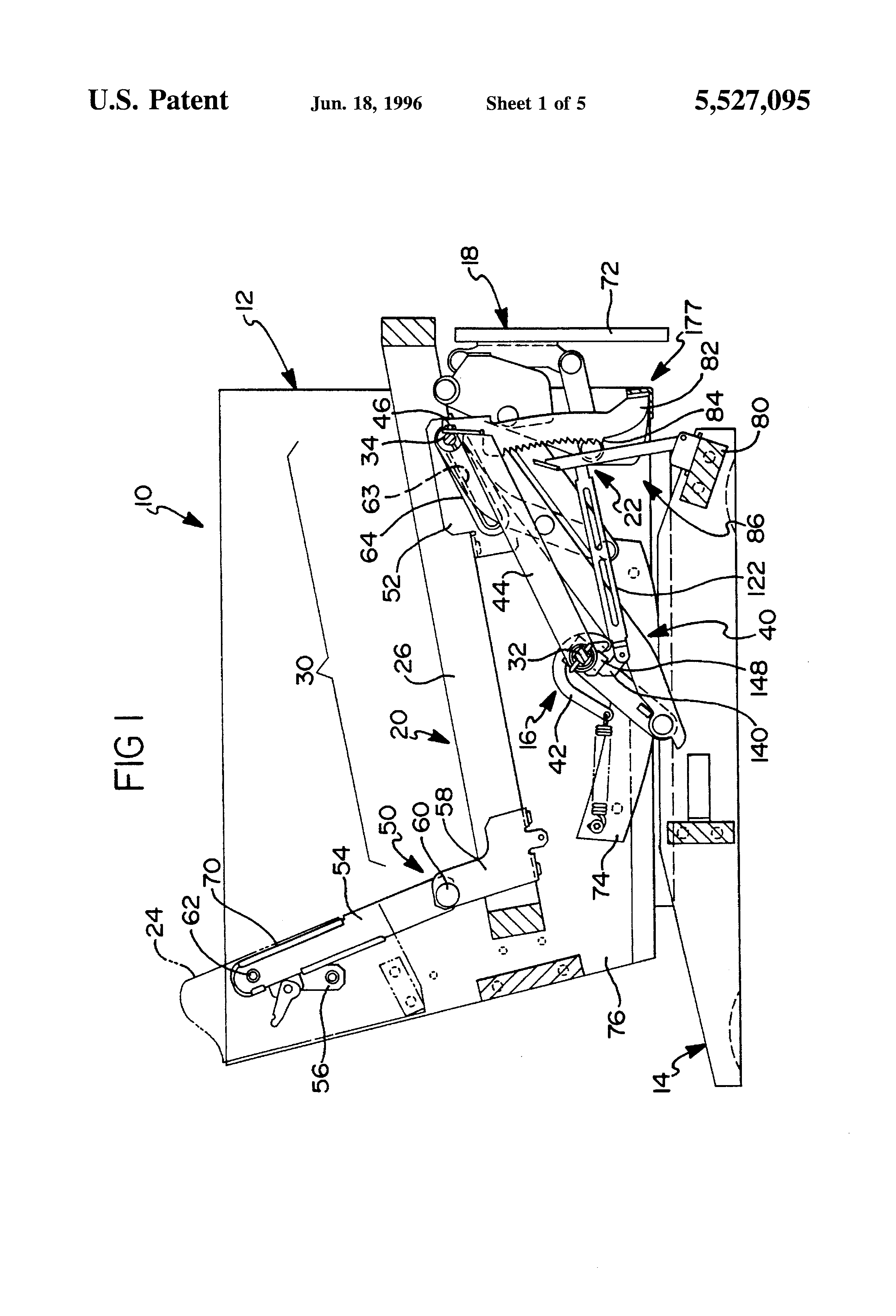 Patent Us5527095 Pawl And Ratchet Assembly Google Patents