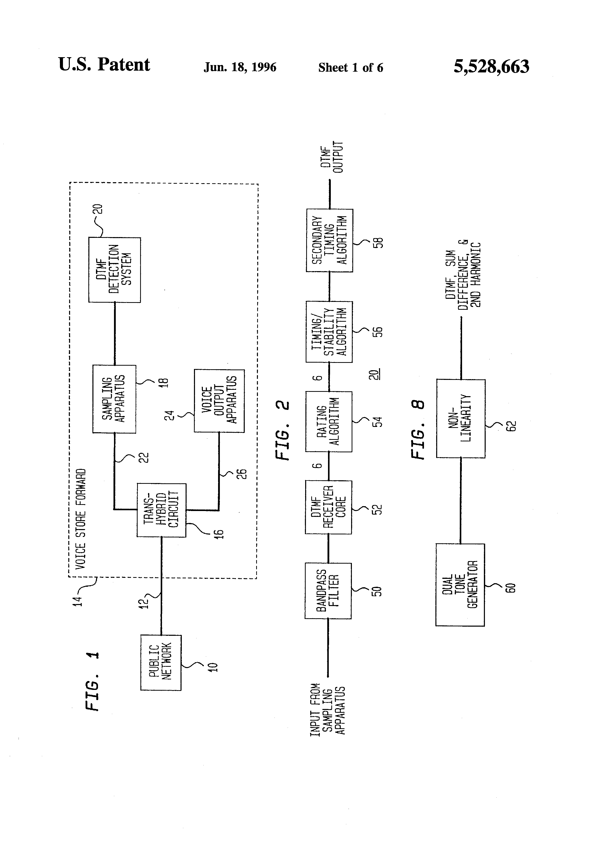 Patent Us5528663 Dtmf Detection For Voice Processing Equipment Bandwidth Filter Drawing