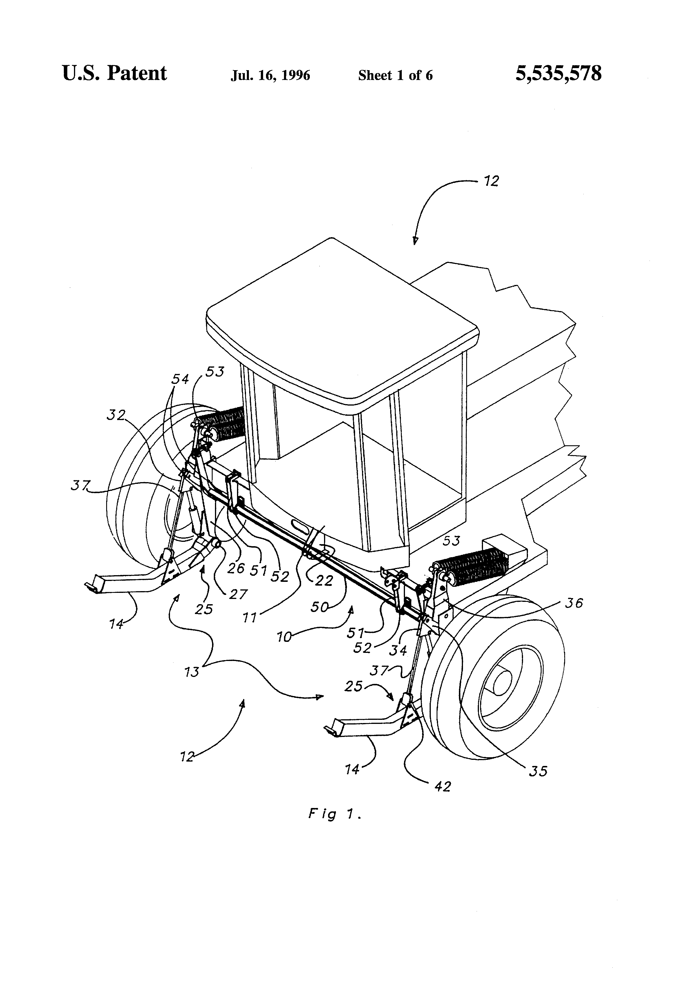 Patent US5535578 - Linkage device for mounting swather
