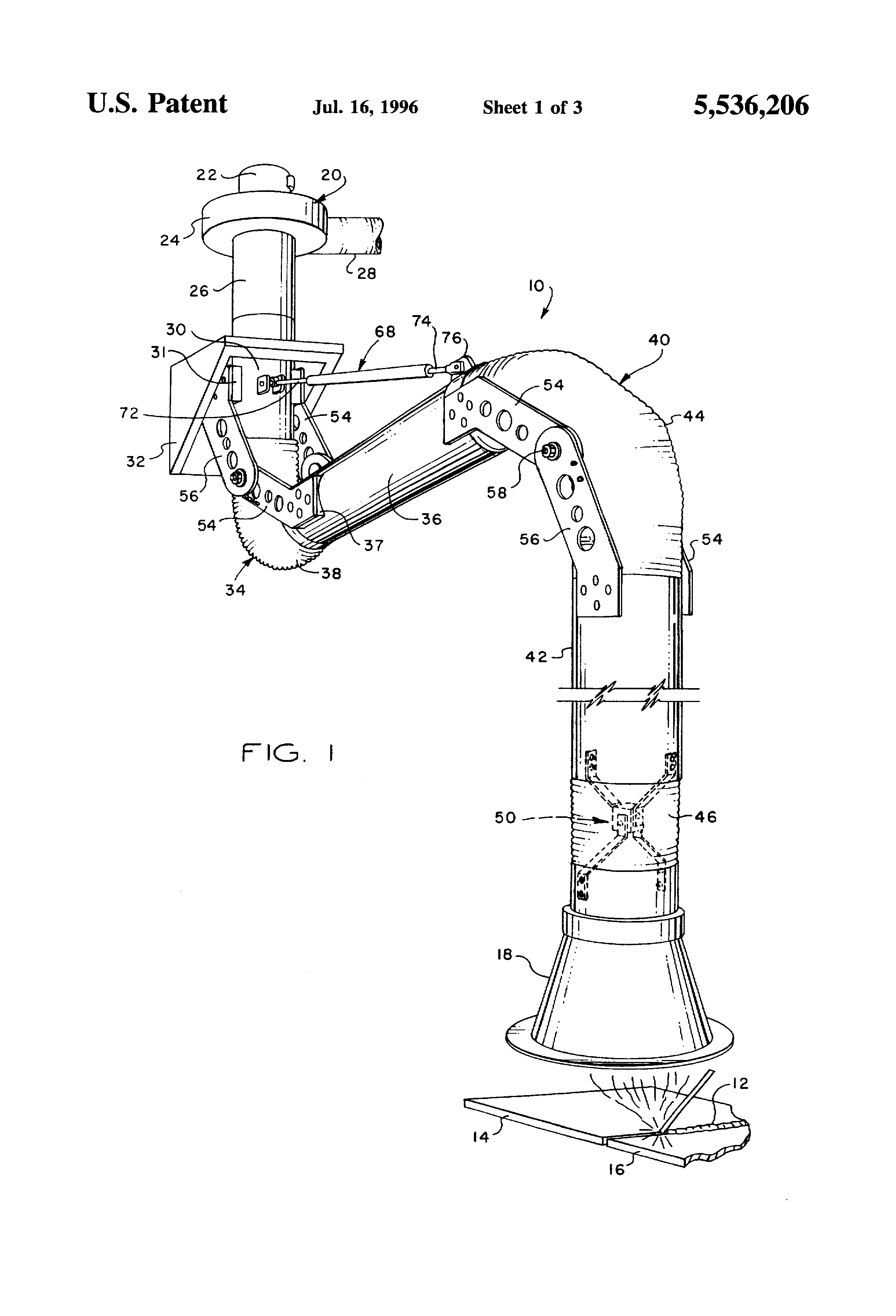 patent us5536206 - articulated duct fume collection and exhaust apparatus