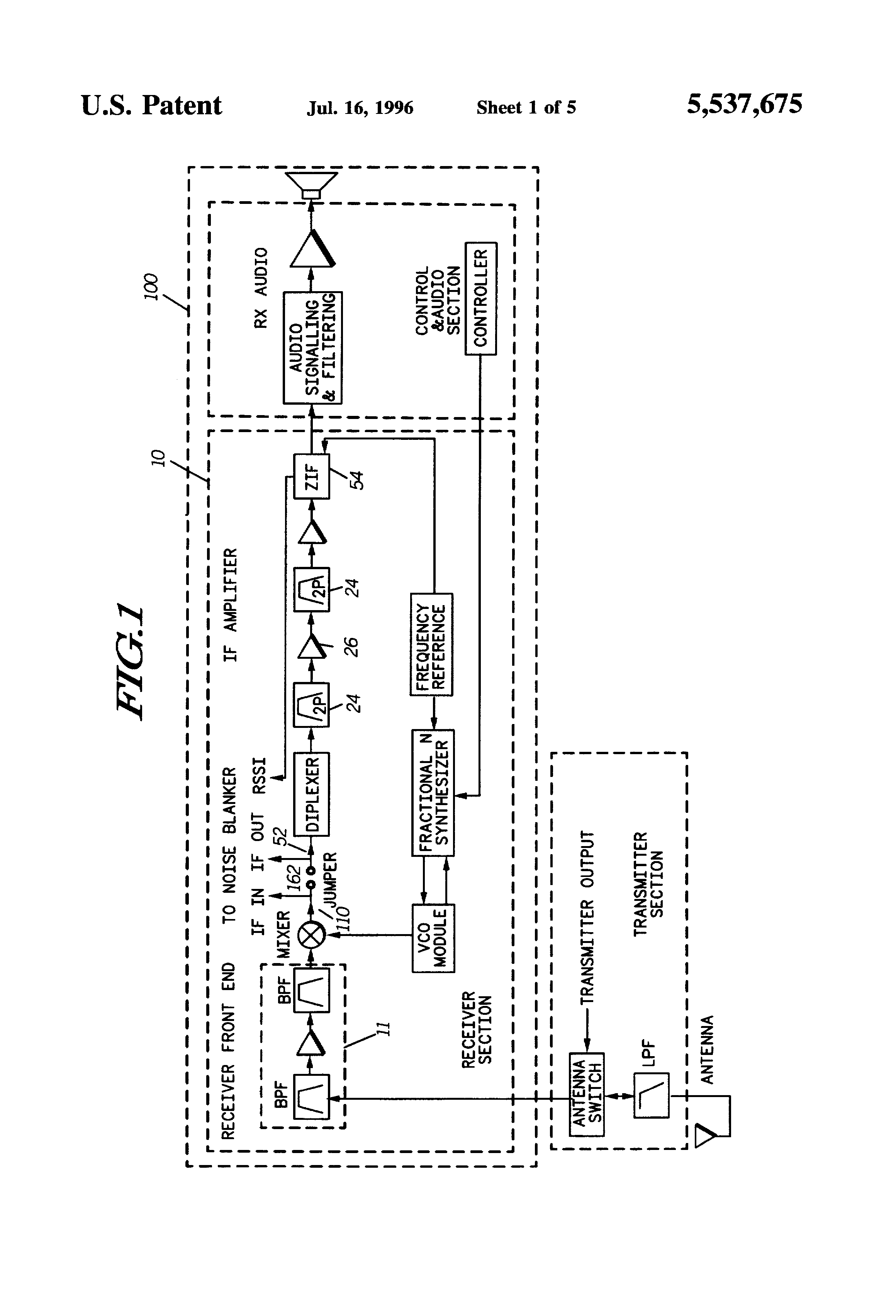 Us5537675 Splatter Controlling Noise Blanker Rf Input Receiver With Bandpass Filter Switch Circuit Control Patent Drawing
