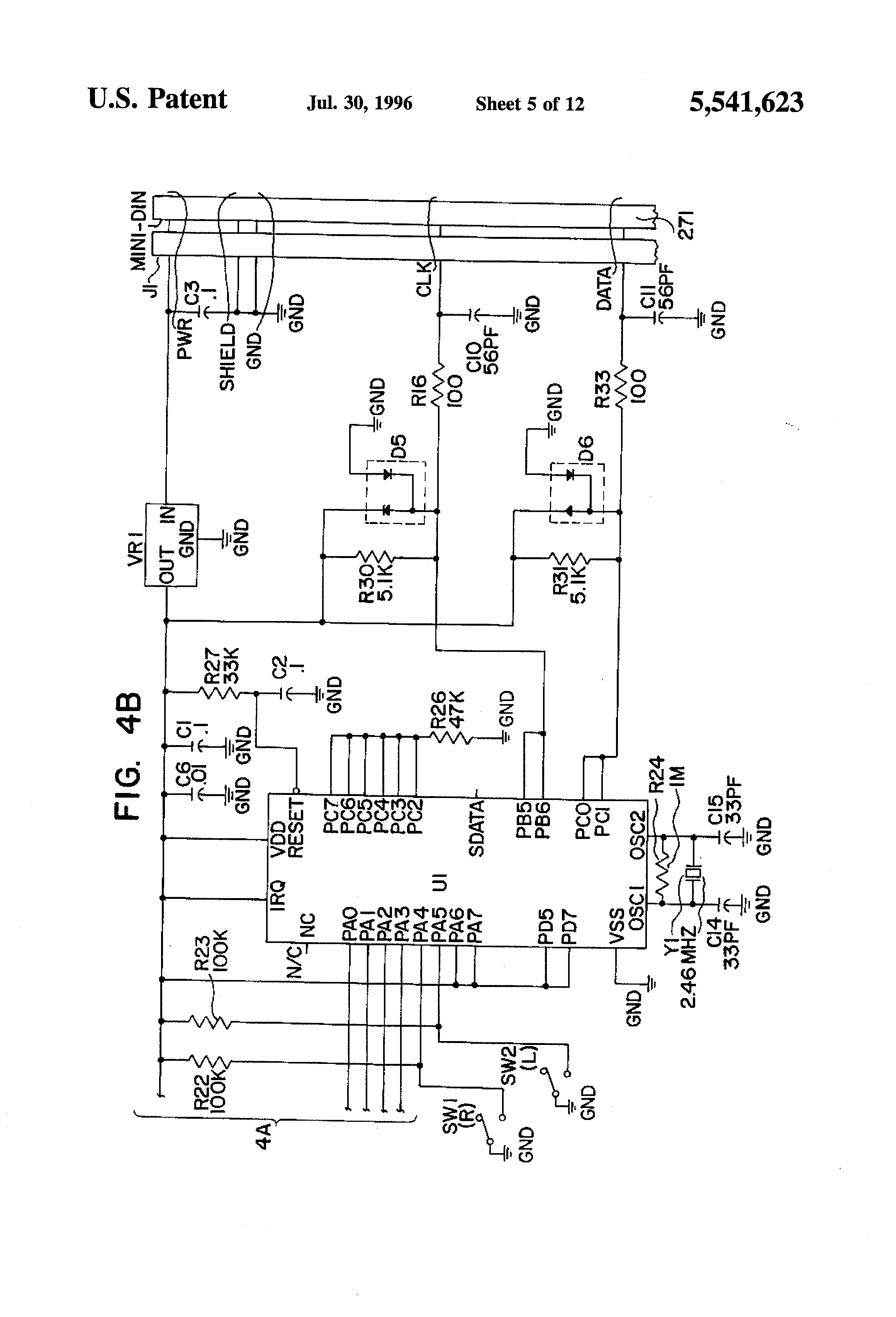 US5541623 5 logitech optical mouse circuit diagram circuit and schematics logitech x 240 wiring diagram at fashall.co