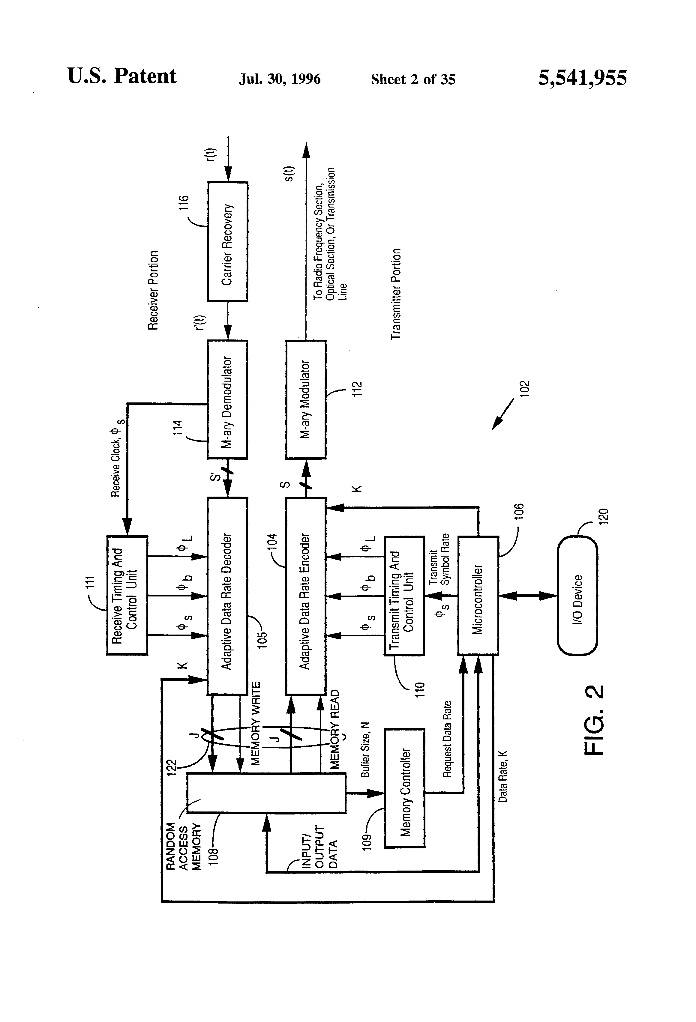 Patent Us5541955 Adaptive Data Rate Modem Google Patents Voice Changer Circuit Diagram Drawing
