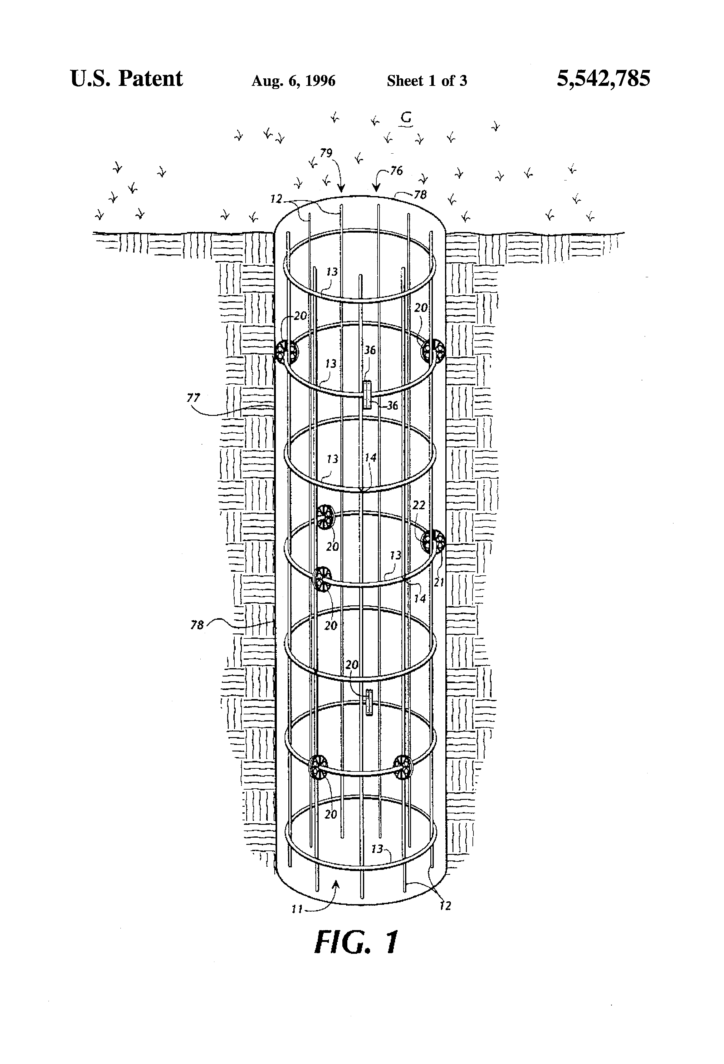 Patent Us5542785 Rebar Cage Wheel Spacer Centralizer