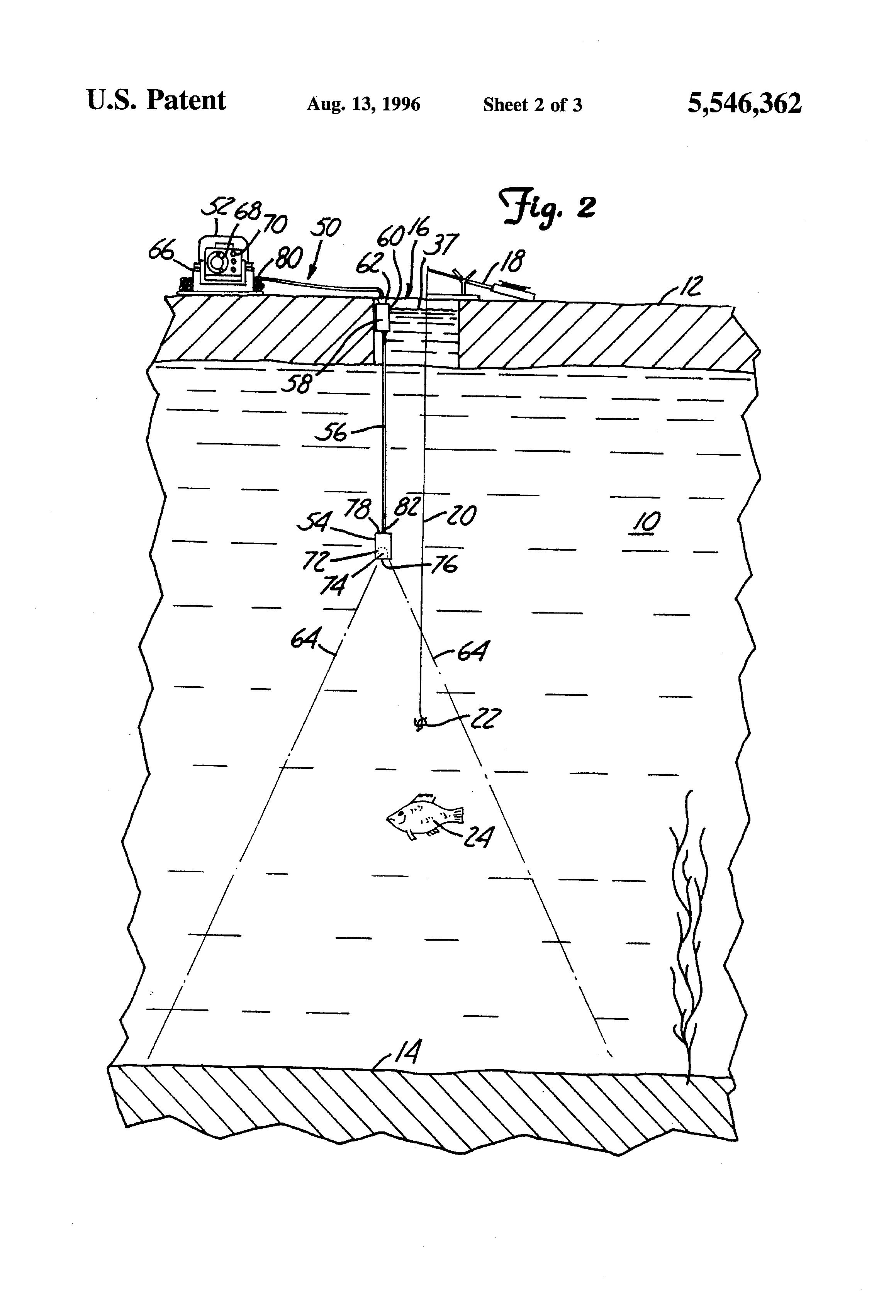 patent us5546362 - depth finder transducer system