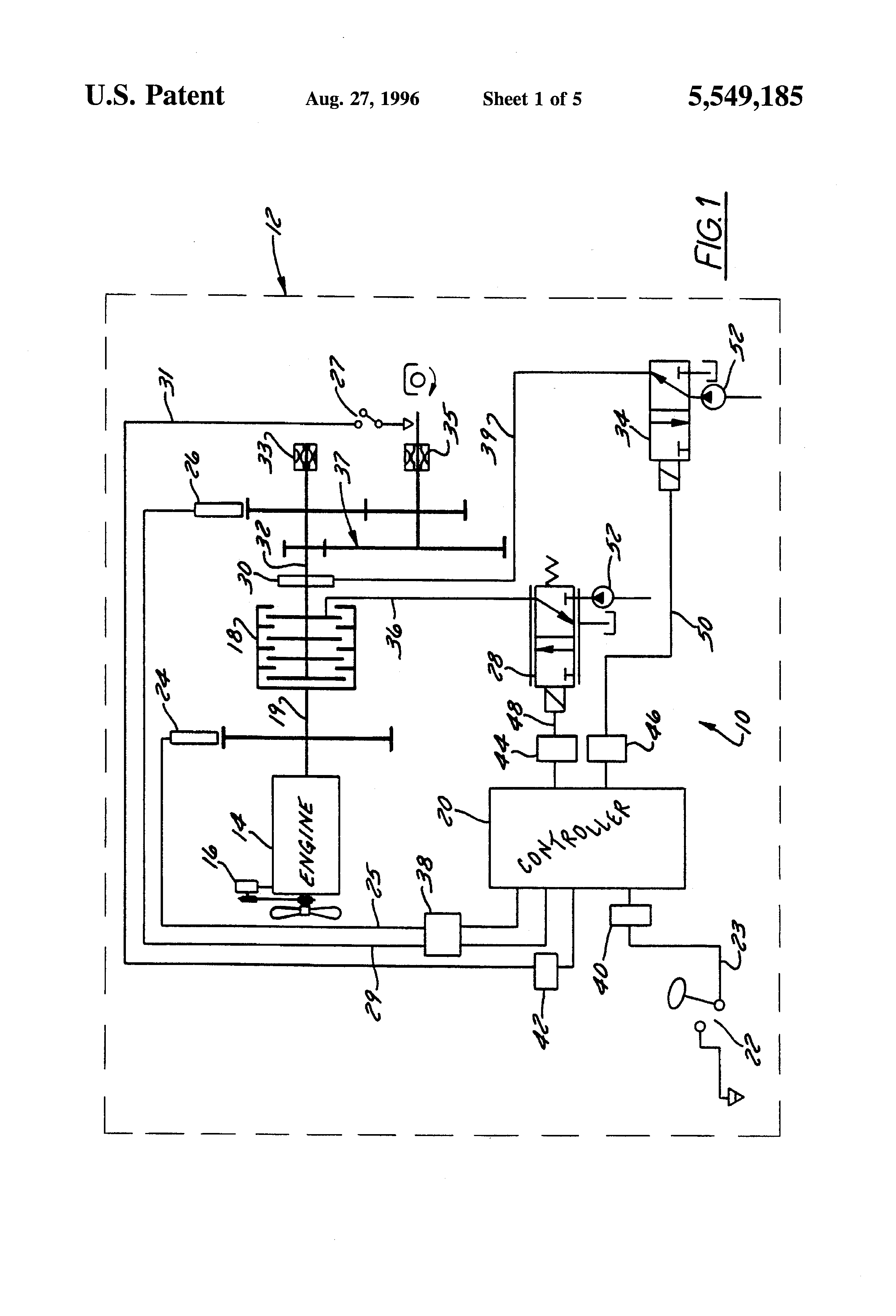 Patent Us5549185 Power Take Off Torque Limiting Control System Muncie Pto Pressure Switch Wiring Diagram Drawing