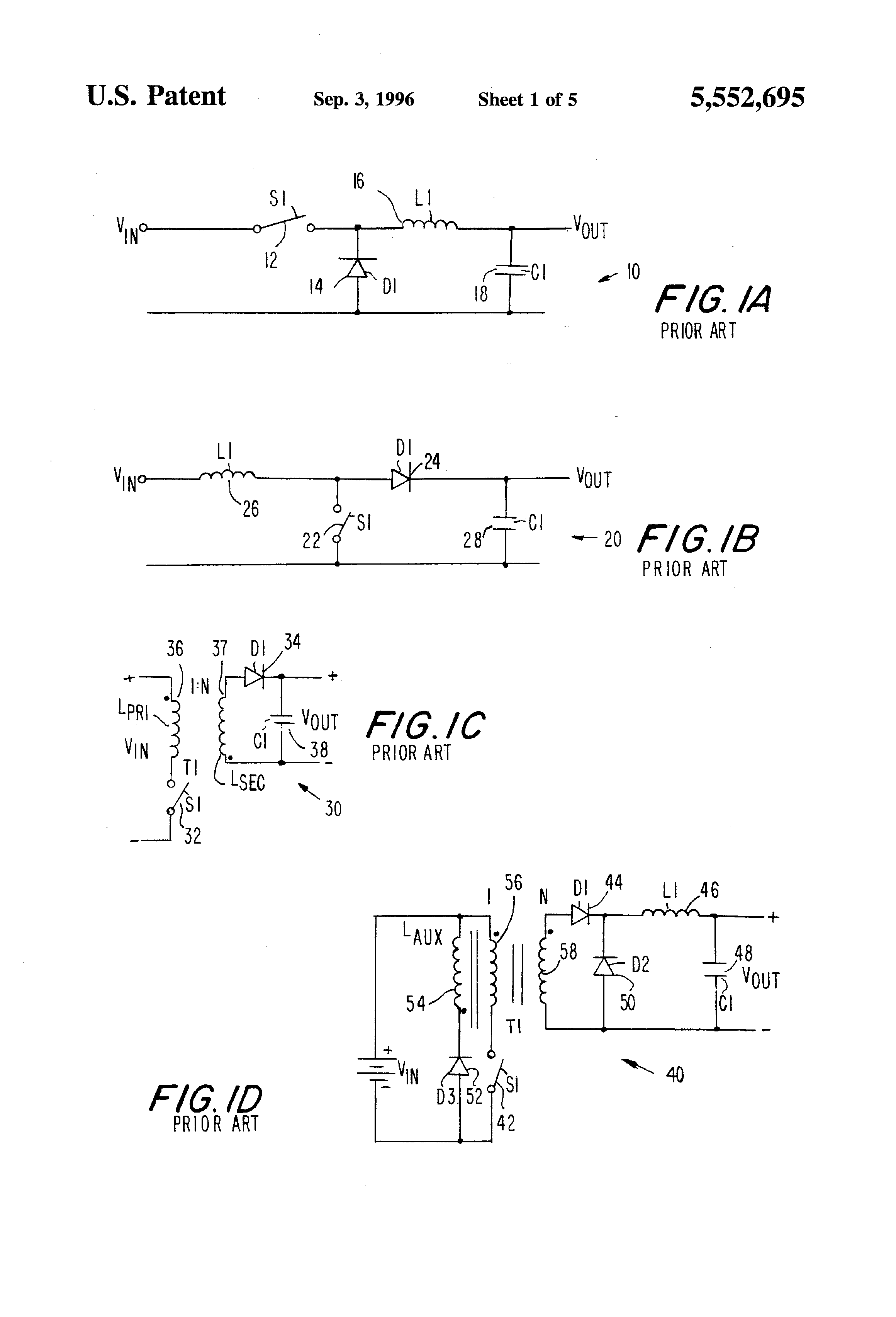 Patent Us5552695 Synchronously Rectified Buck Flyback Dc To Monolithic Synchronous Stepdown Converter Linear Technology Drawing