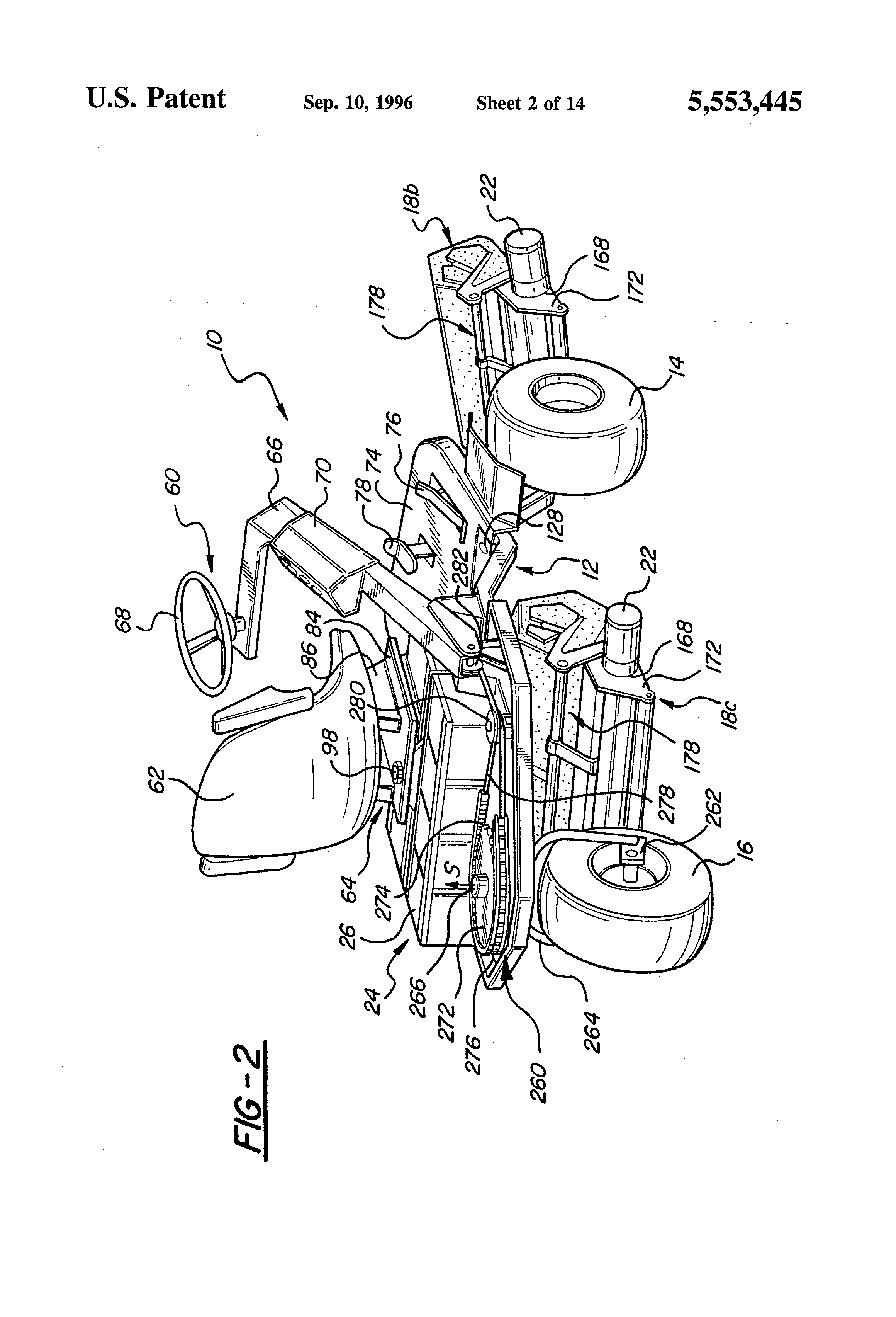 patent us5553445 - riding mower with swingout center mower head