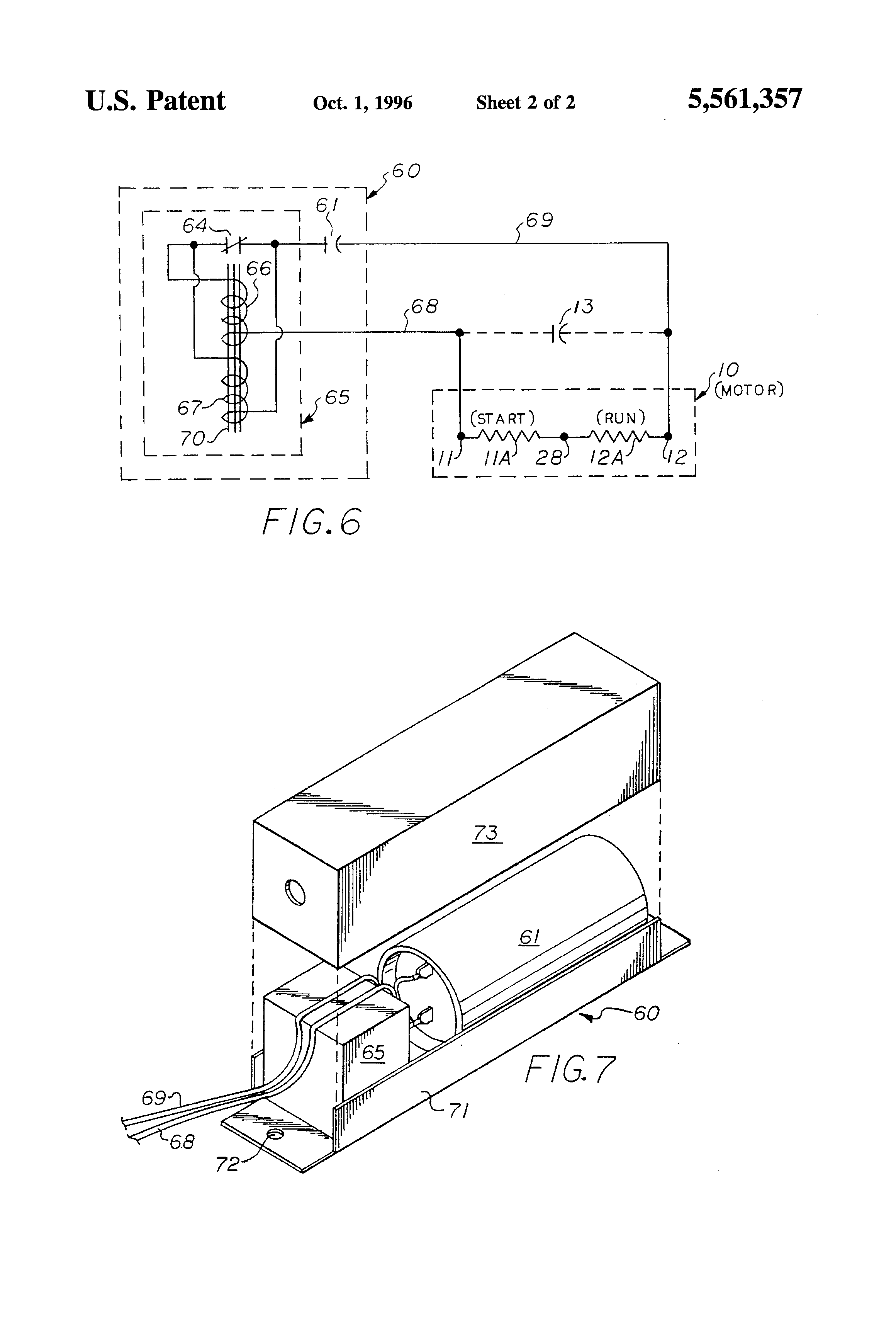 Patent Us5561357 Starting Device And Circuit For Single Permanent Split Capacitor Run Ac Induction Motor Drawing