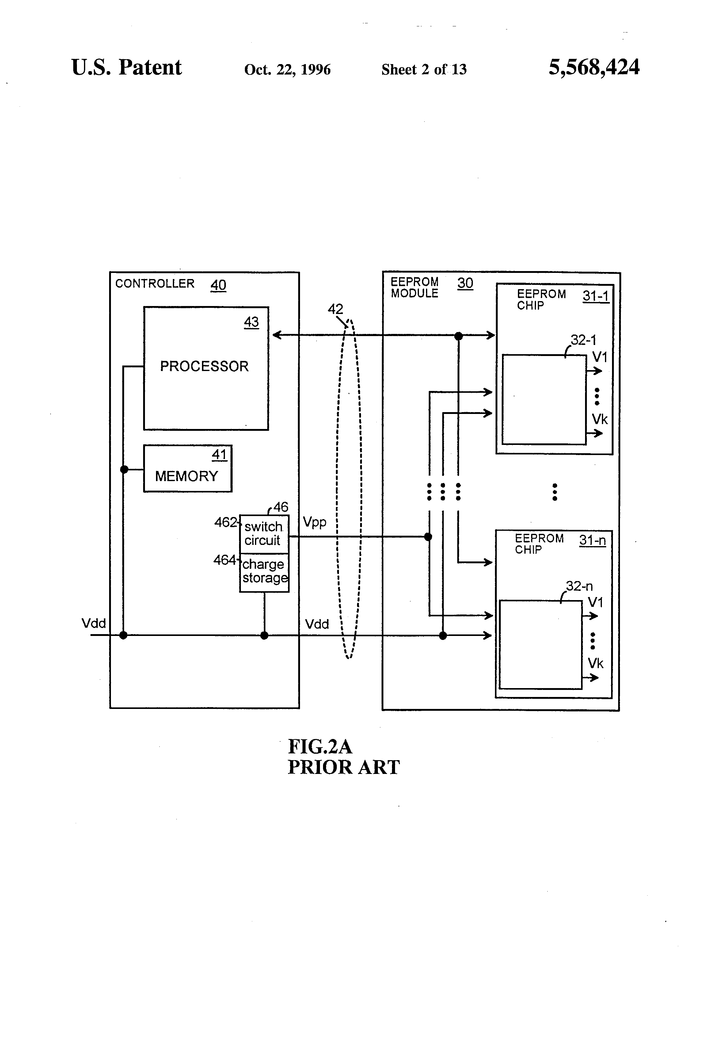 Patent Us5568424 Programmable Power Generation Circuit For Flash Original Memory Ic Integrated Chip Drawing