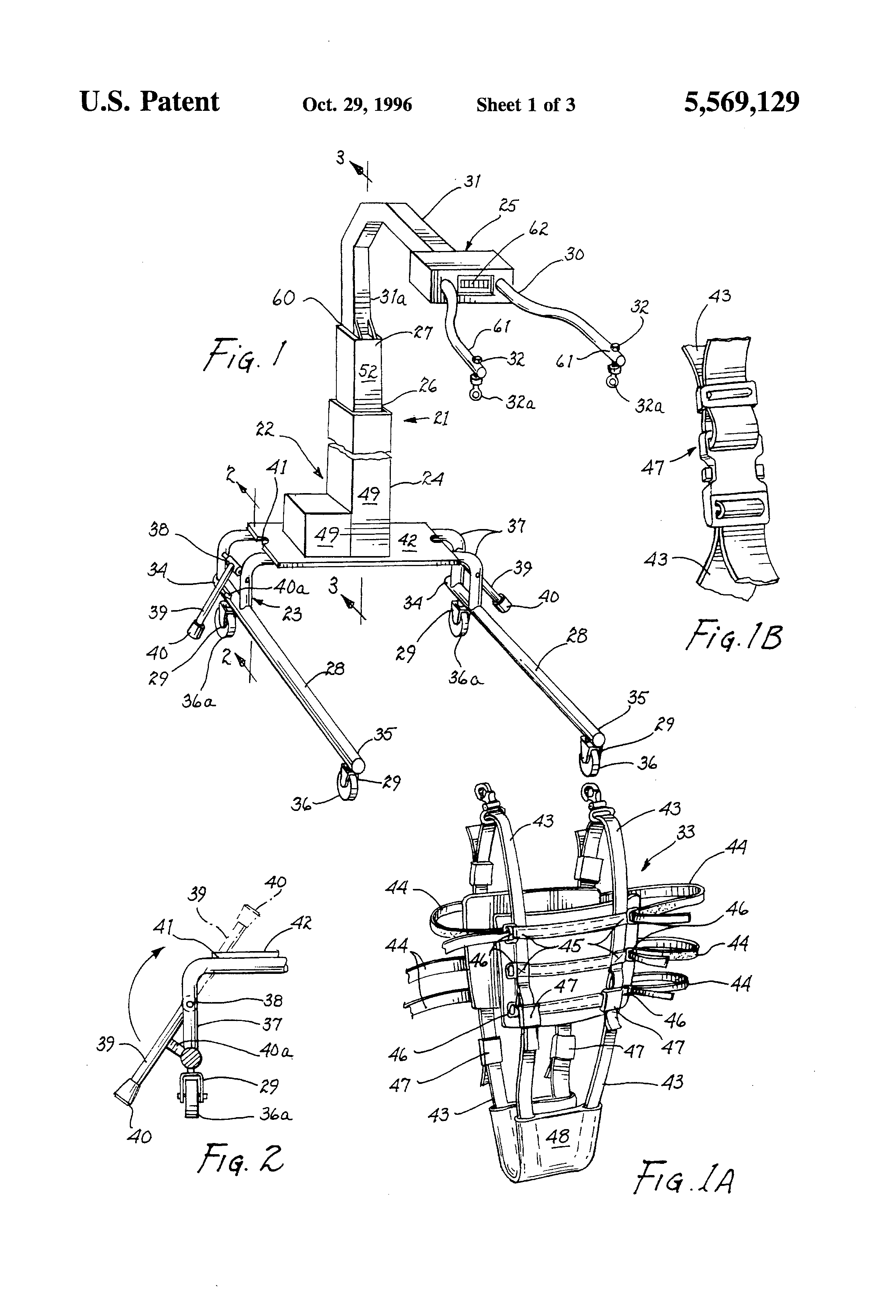 Patente Us5569129 Device For Patient Gait Training