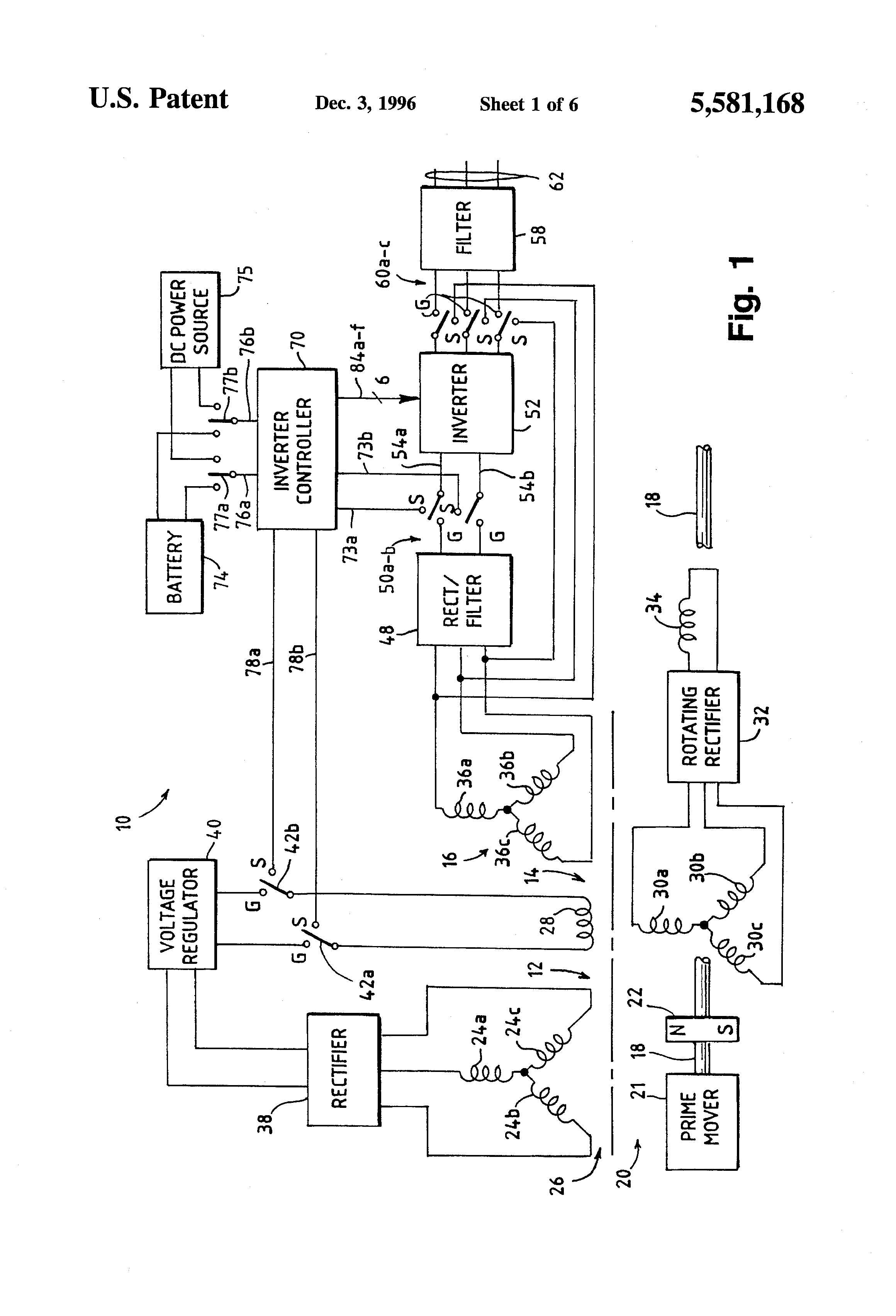 Patent Us5581168  Generator System With Dc Link