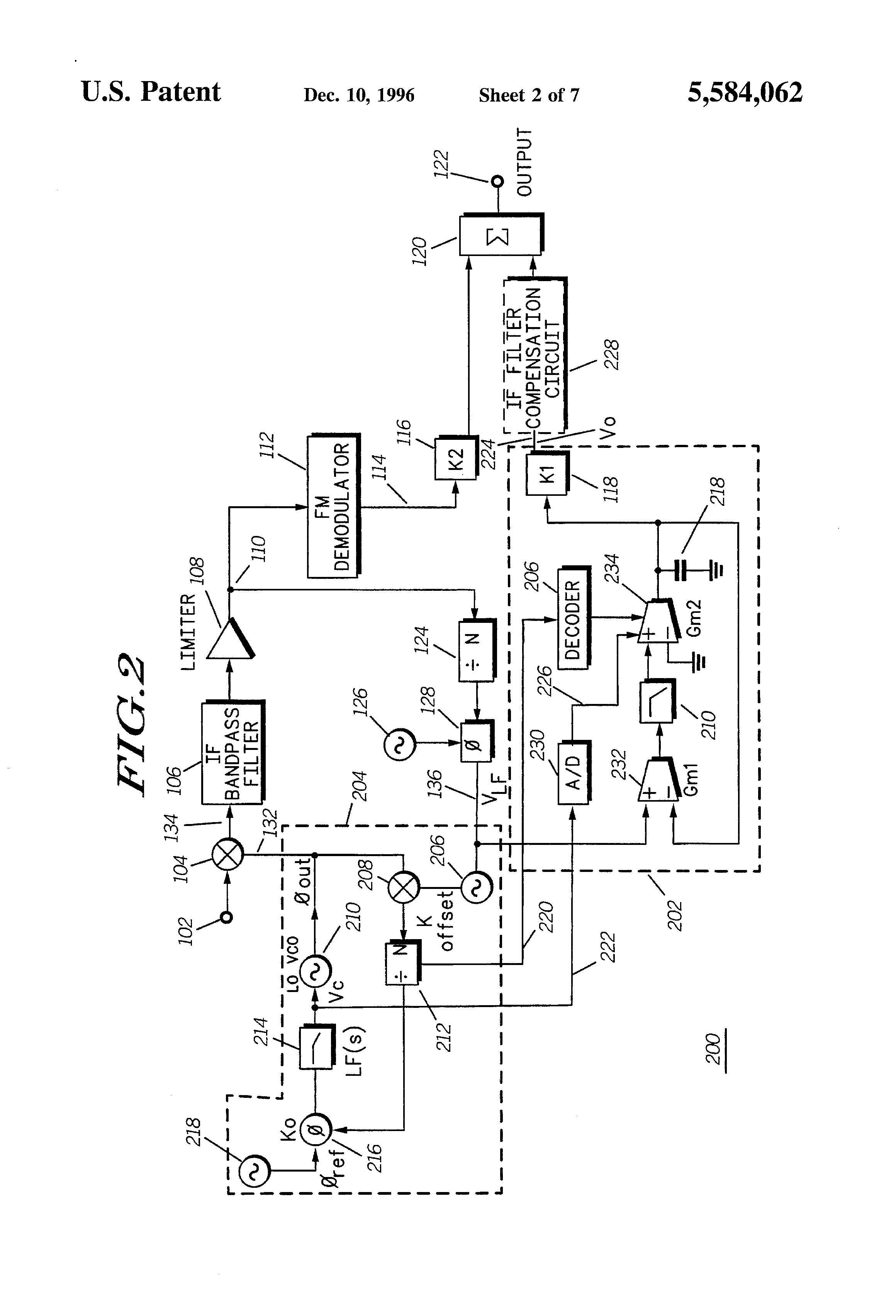 Patent Us5584062 Method And Apparatus For Compensating Phase Pll Fm Demodulator Circuit Schematic Diagram Drawing