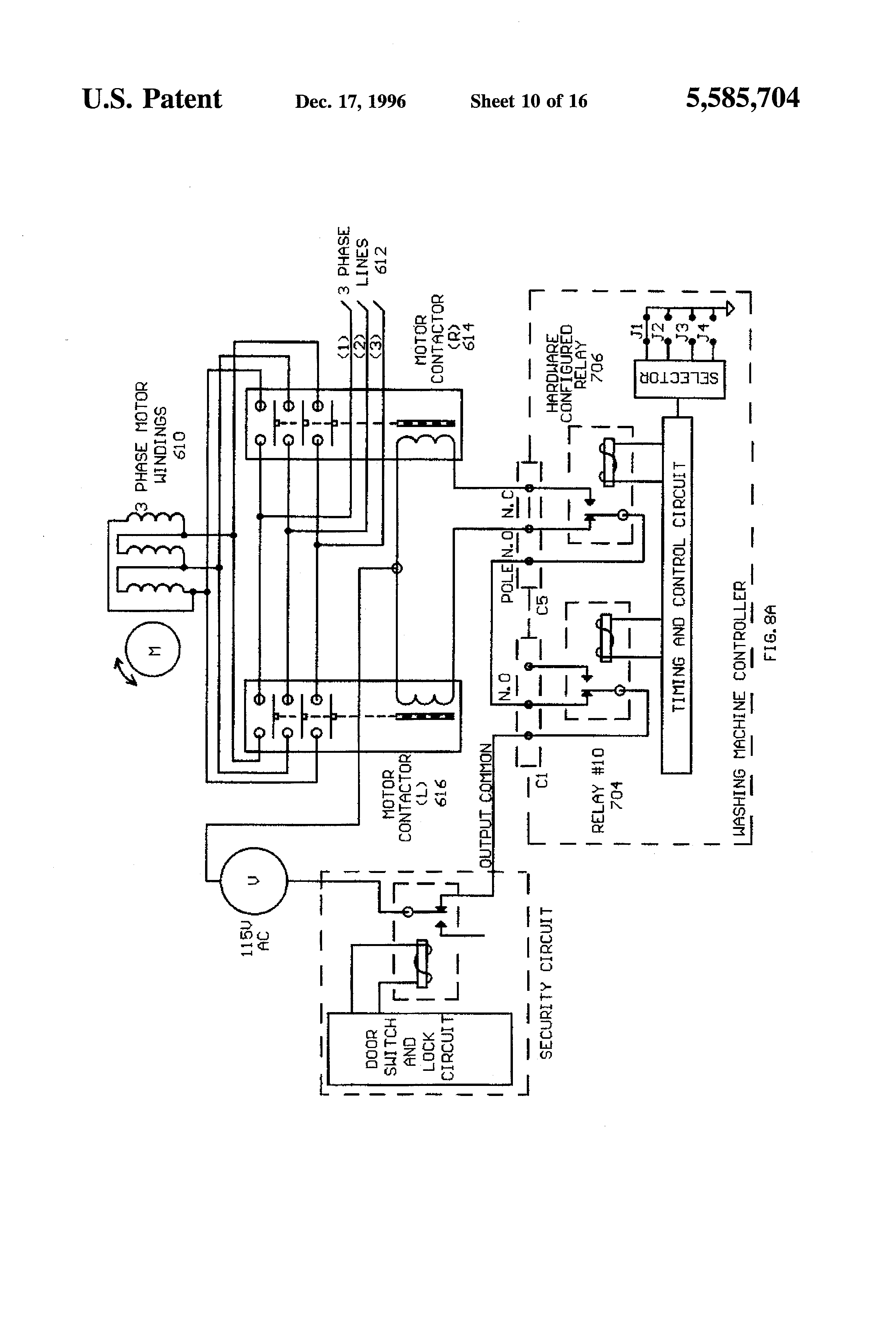 3 Wire Washing Machine Motor Wiring Diagram 43 Dryer Us5585704 10 Patent Computer Means For Commercial Machines