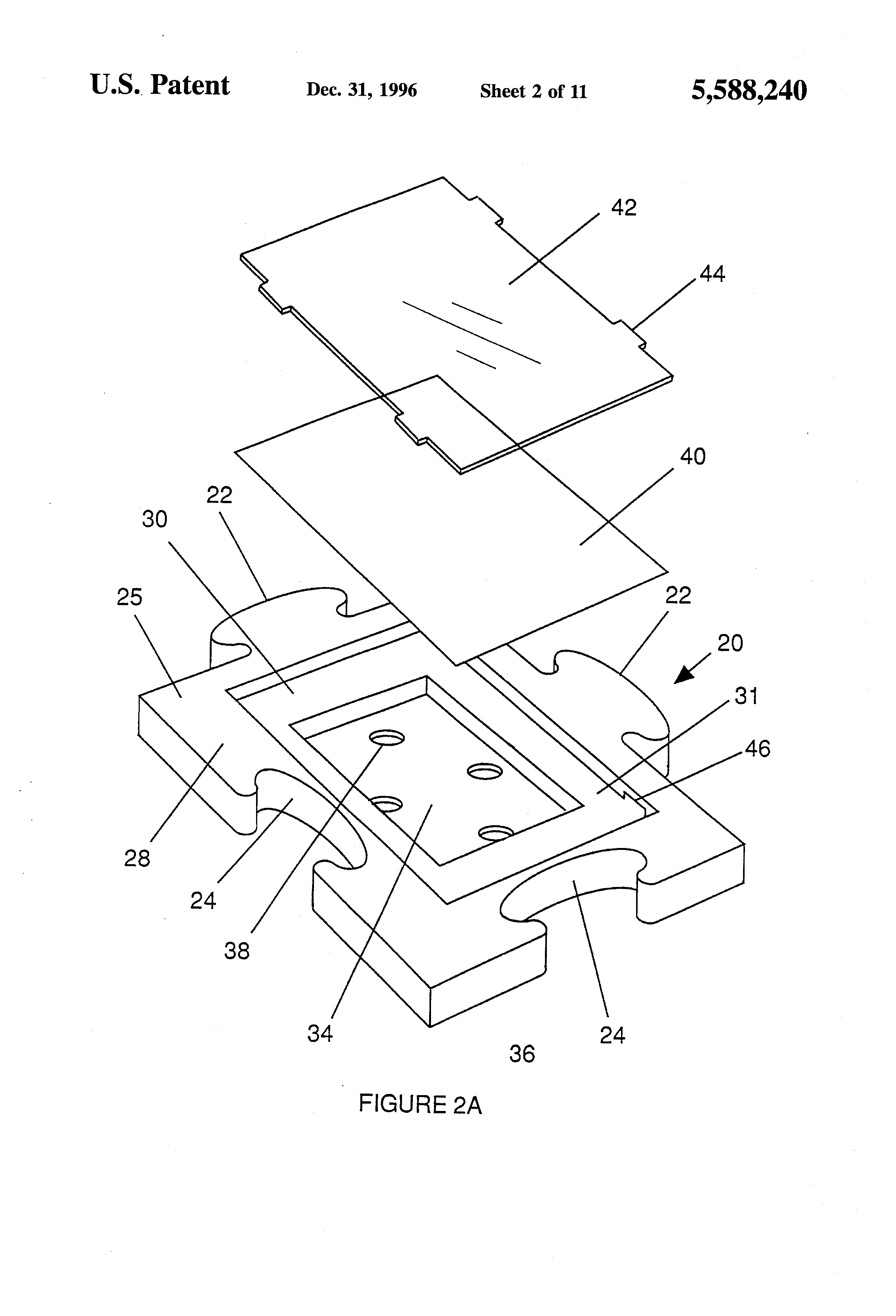 patent us5588240 interlocking picture frame patents 24 X 30 Cabin Plans patent drawing