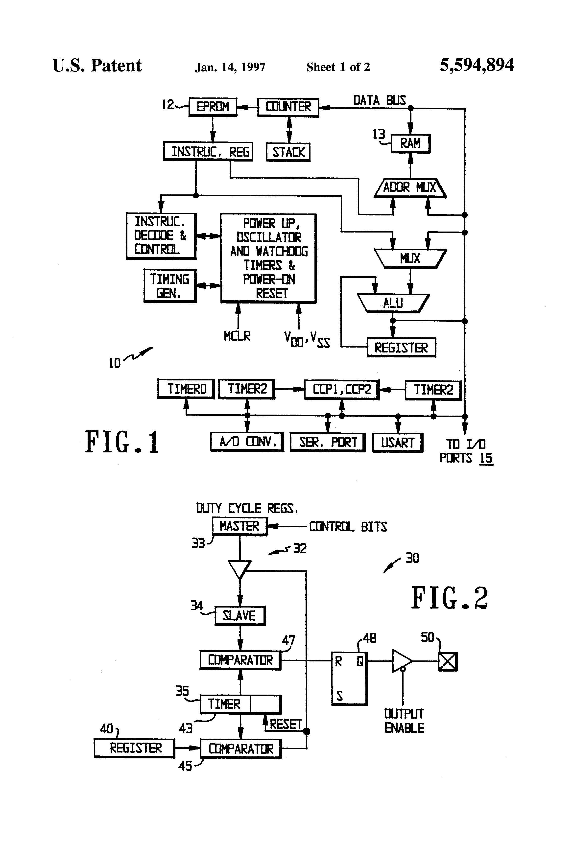 Patent Us5594894 Microcontroller With Programmable Postscaler For Pulse Width Modulation Block Diagram Drawing