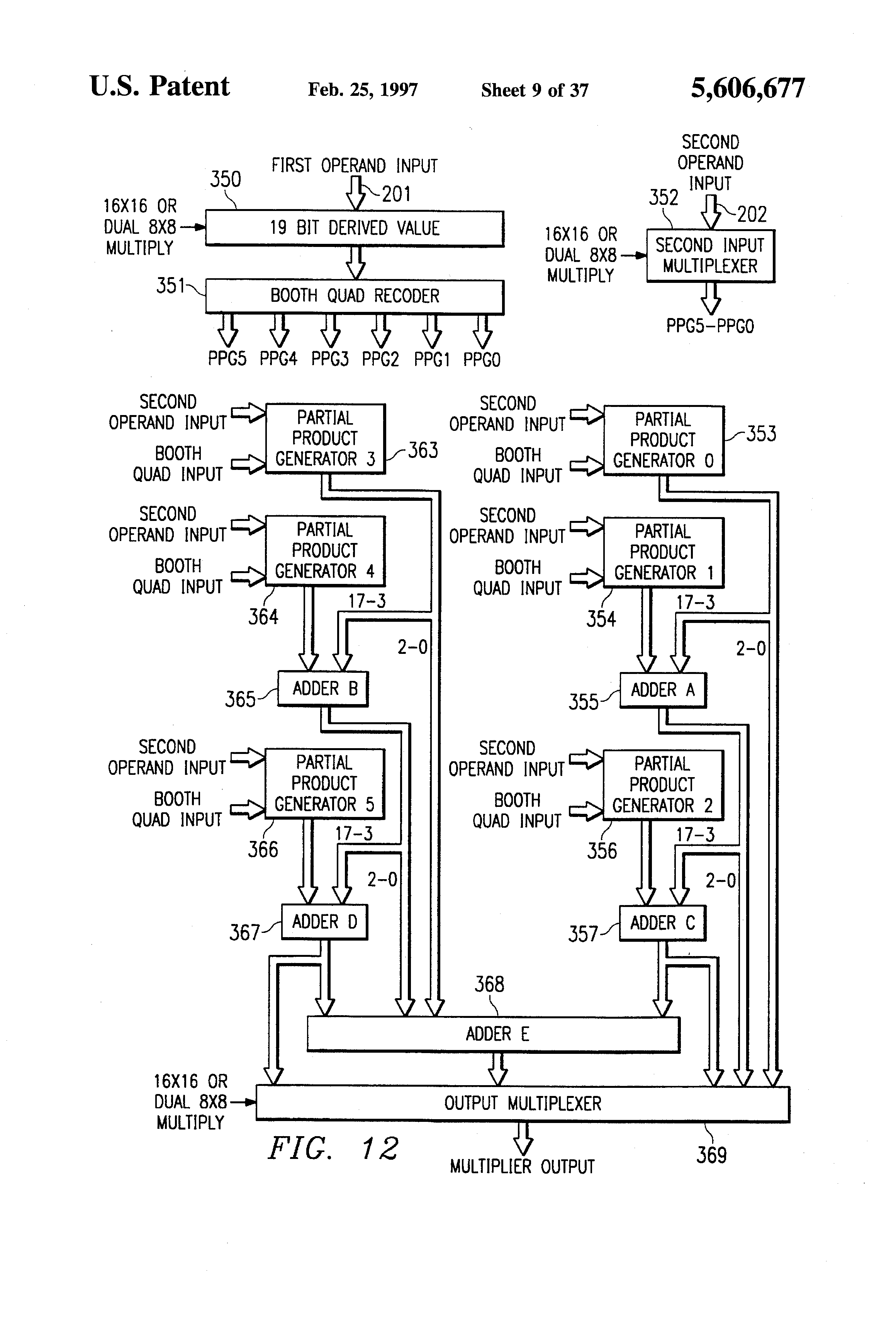 Patent Us5606677 Packed Word Pair Multiply Operation Forming Figure 365 Fulladder Block Diagram Obtained With Two Halfadders Drawing