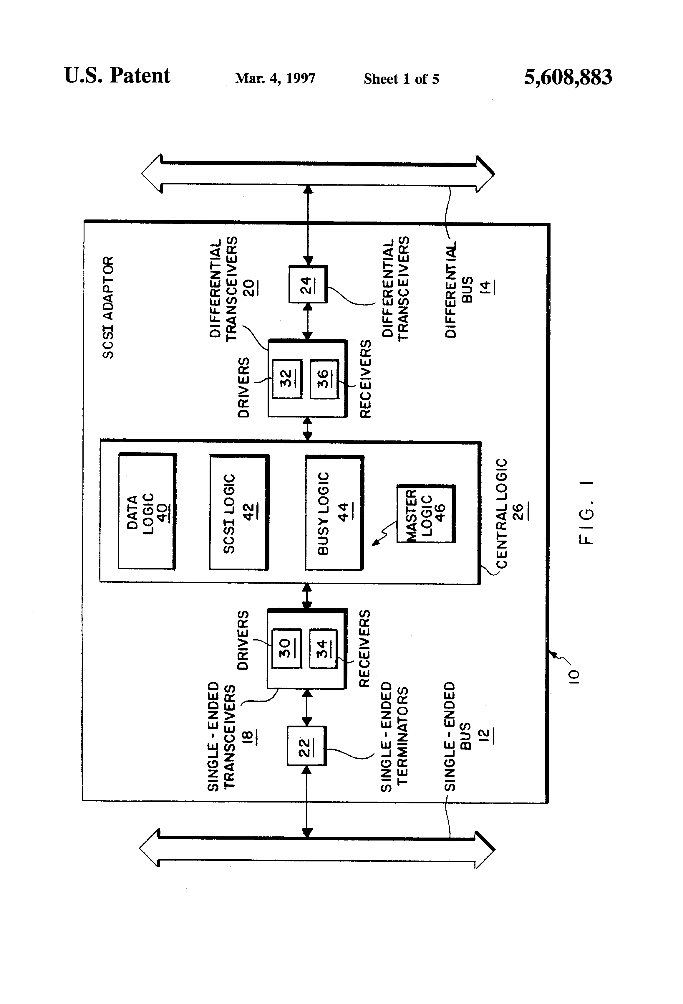 Us5608883 Adapter For Interconnecting Single Ended Scsi Wiring Diagram Patent Drawing