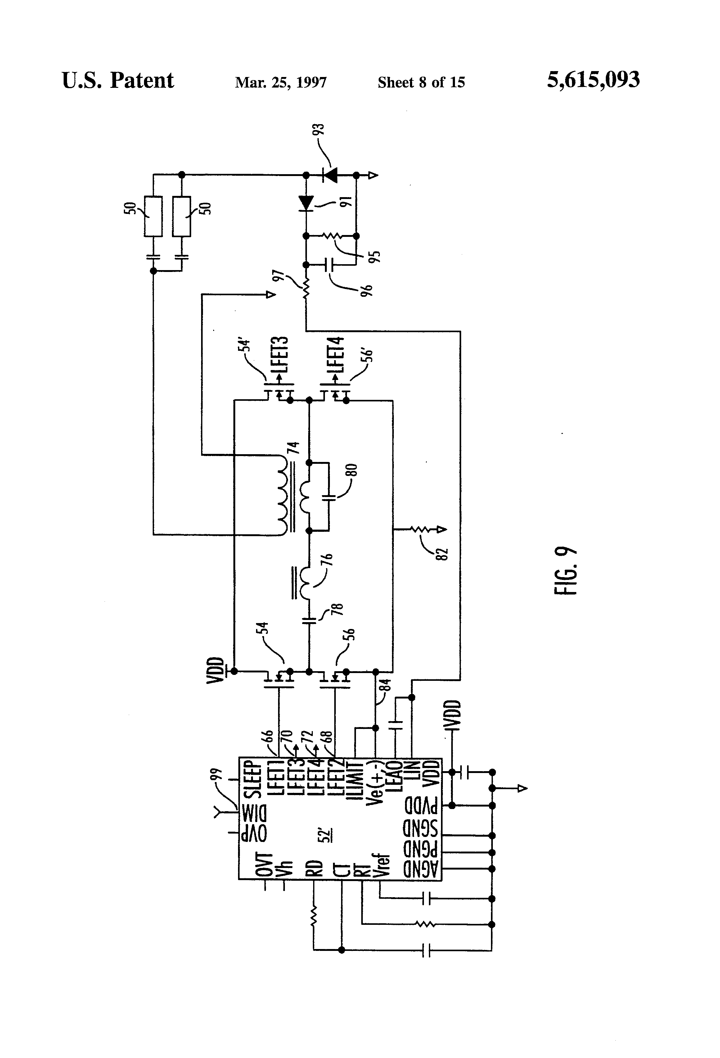 patent us5615093 - current synchronous zero voltage switching resonant topology