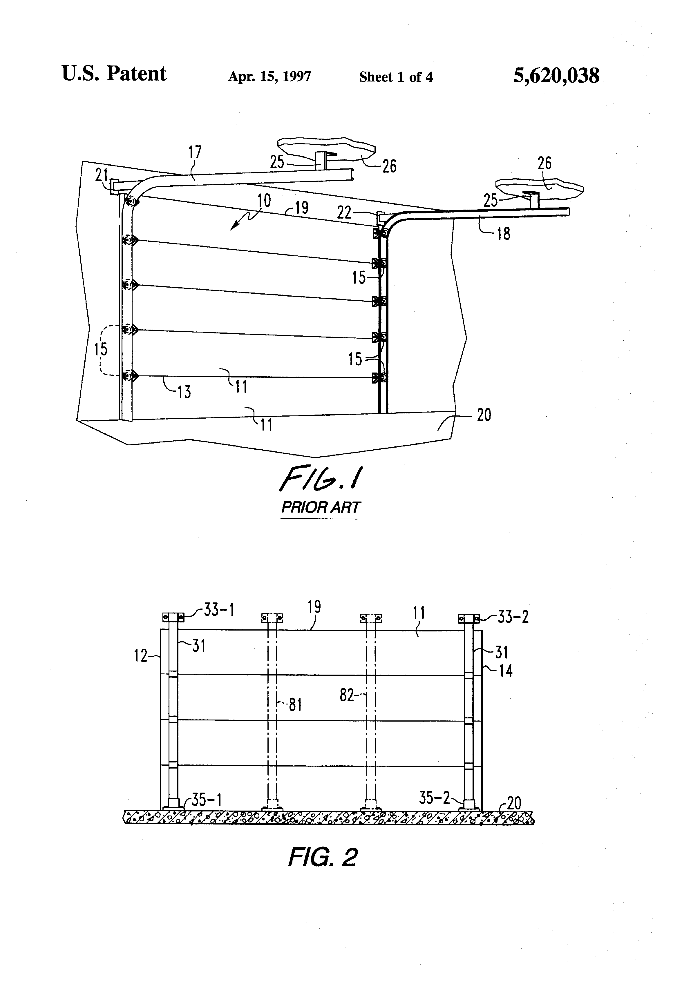 Patent Us5620038 System For Bracing Garage Door Against