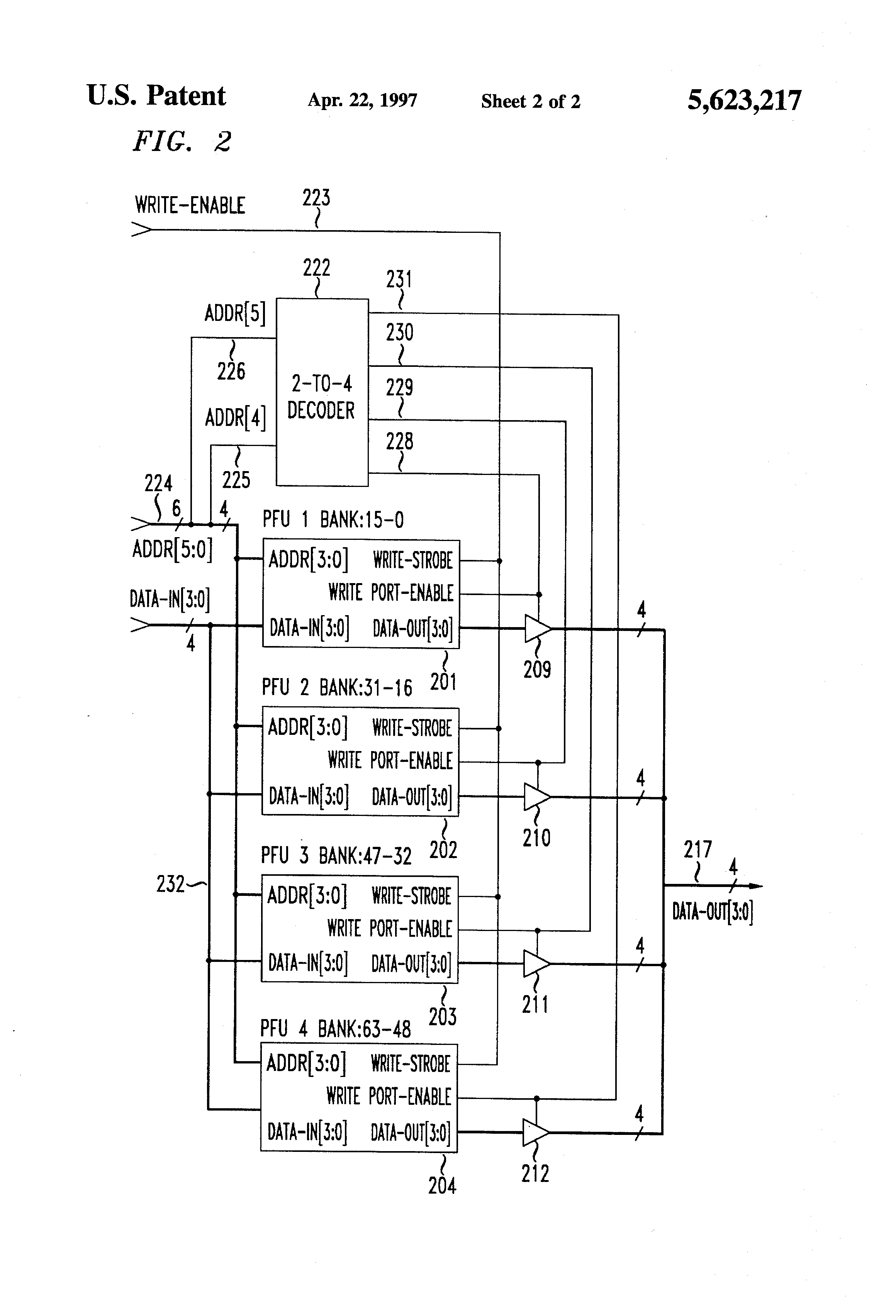 Patent Us5623217 Field Programmable Gate Array With Write Port Logic Diagram 2x4 Decoder Drawing