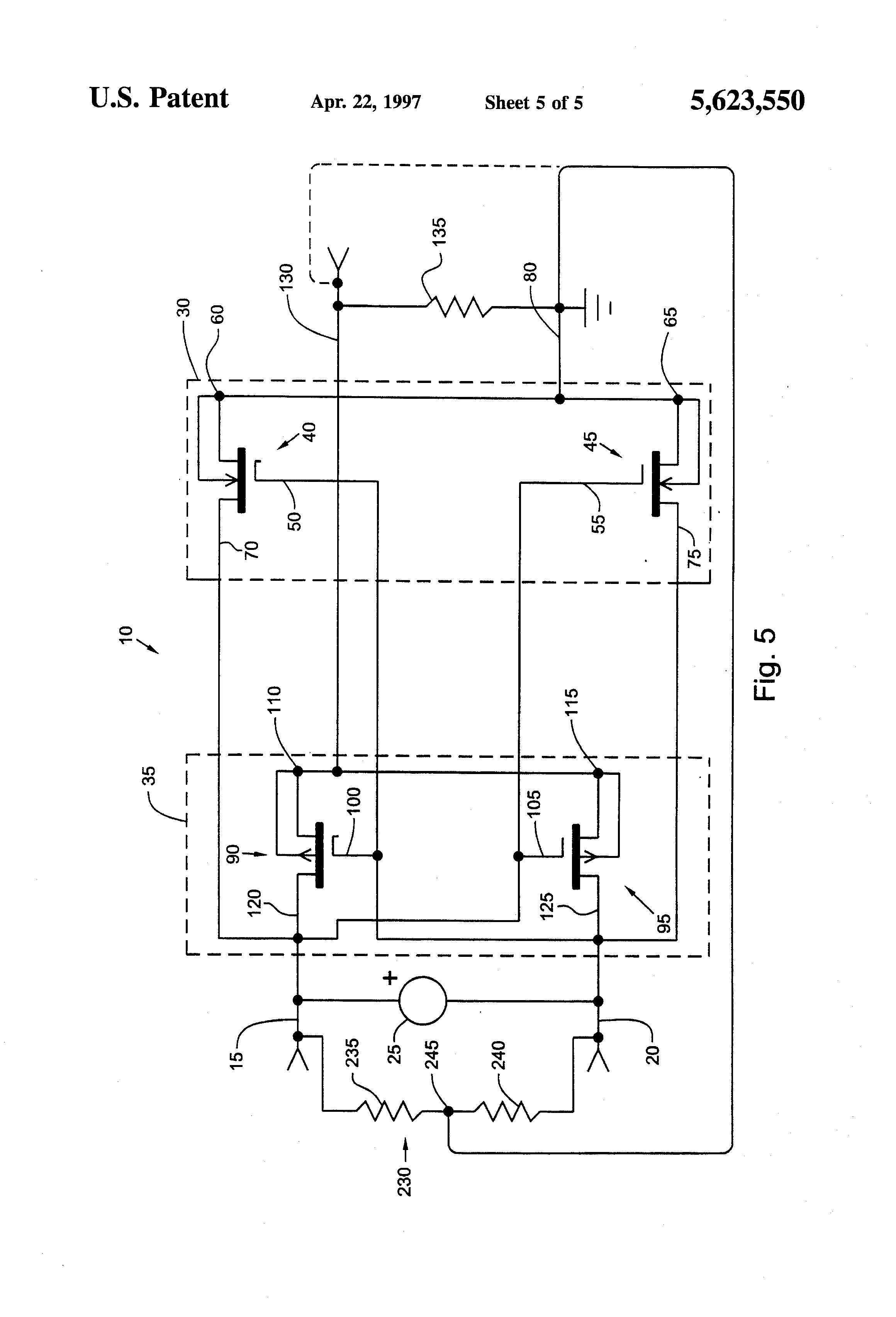 Patent Us5623550 Battery Power Supply Circuit Which Supplies Transistors Pchannel Mosfet Drainsource Polarity In Switch Drawing