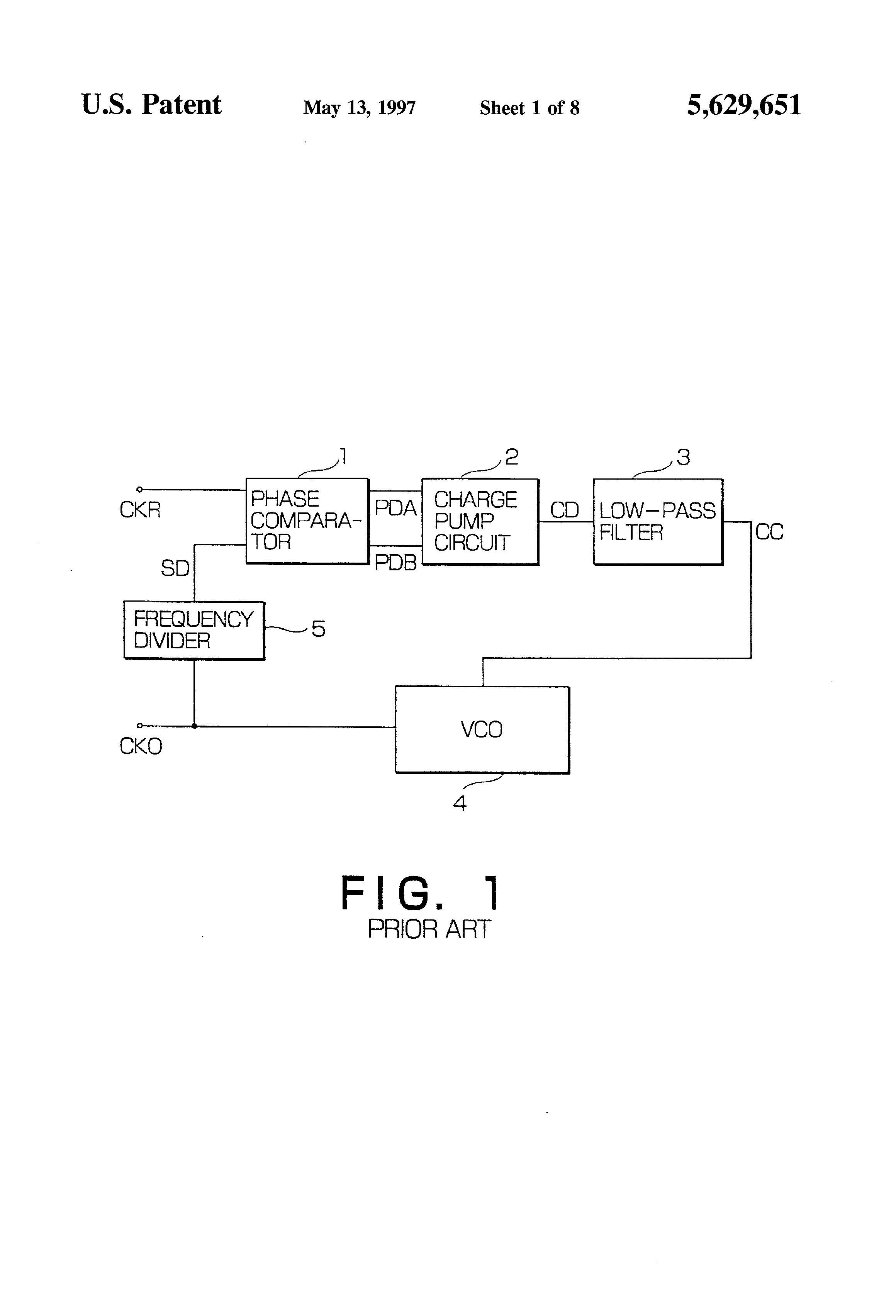 براءة الاختراع US5629651 - Phase lock loop having a reduced