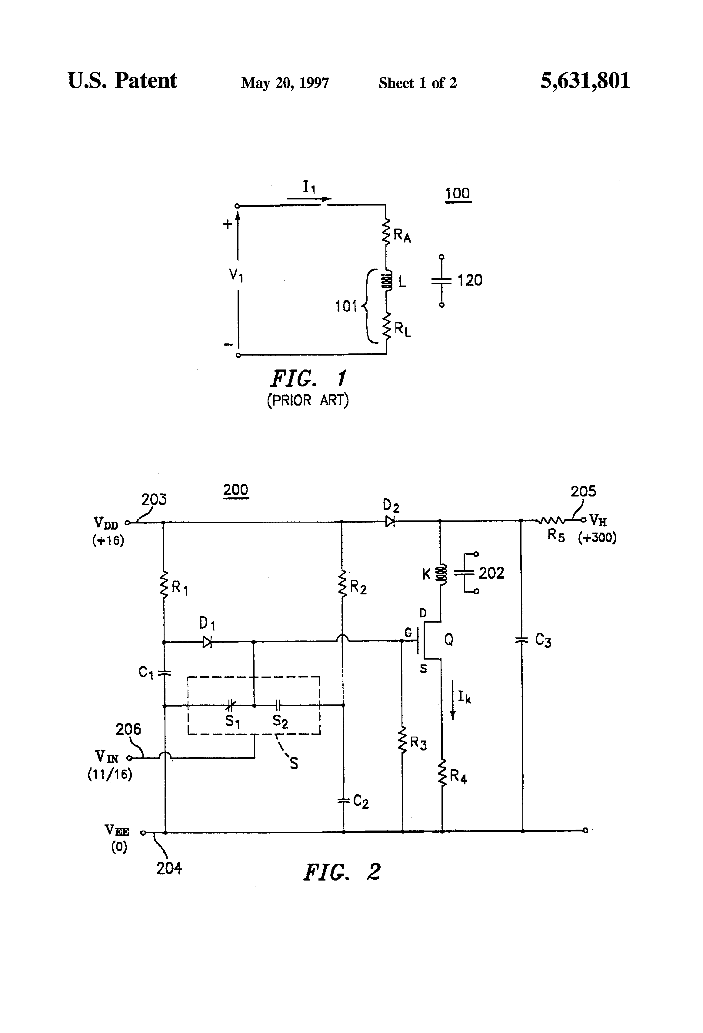 Patent Us5631801 Fast Relay Control Circuit With Reduced Bounce Schematic Diagram Relaycontrol Controlcircuit Drawing