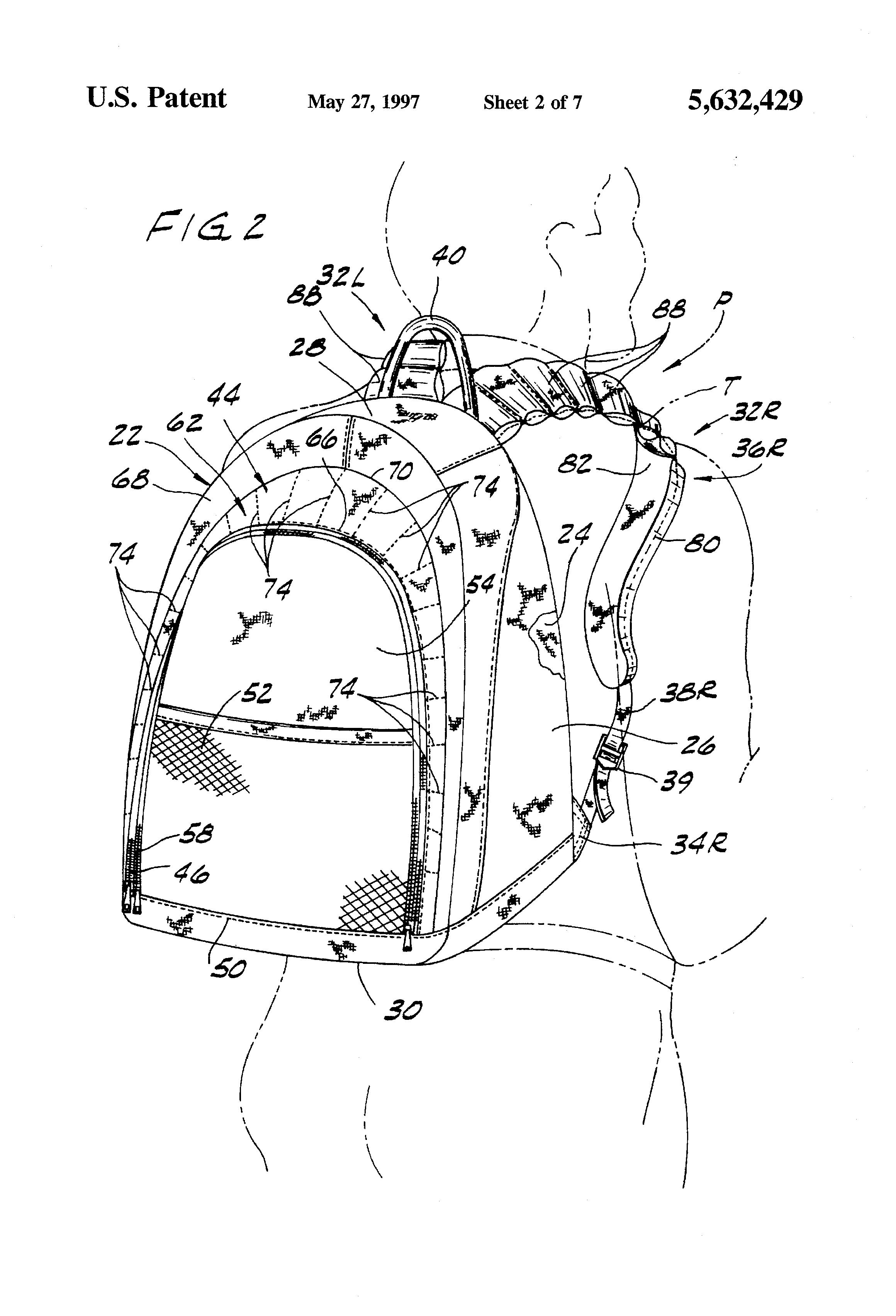 patent us5632429 backpack patents Motorola Radio Shoulder Holster patent drawing
