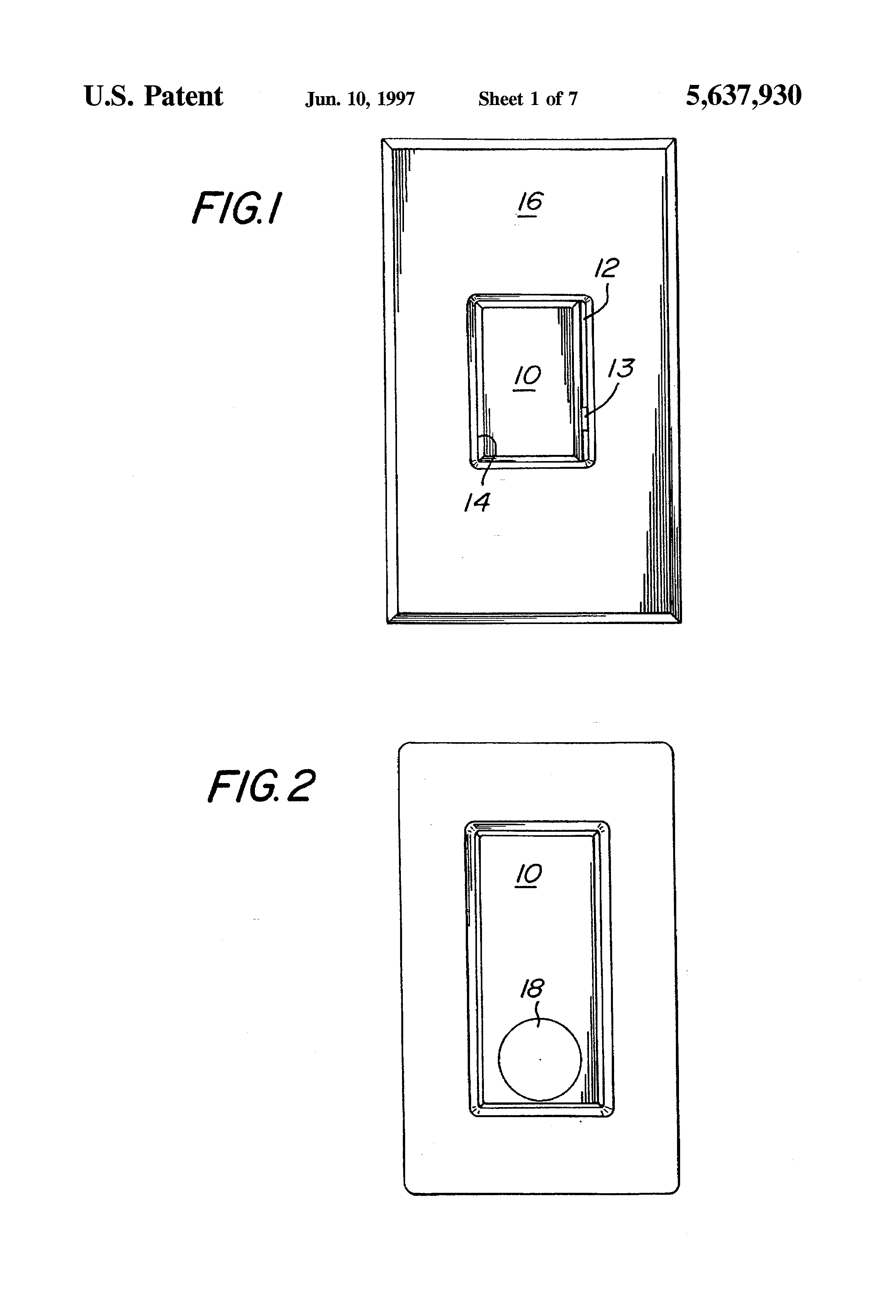 patent us5637930 - wall-mountable switch  u0026 dimmer