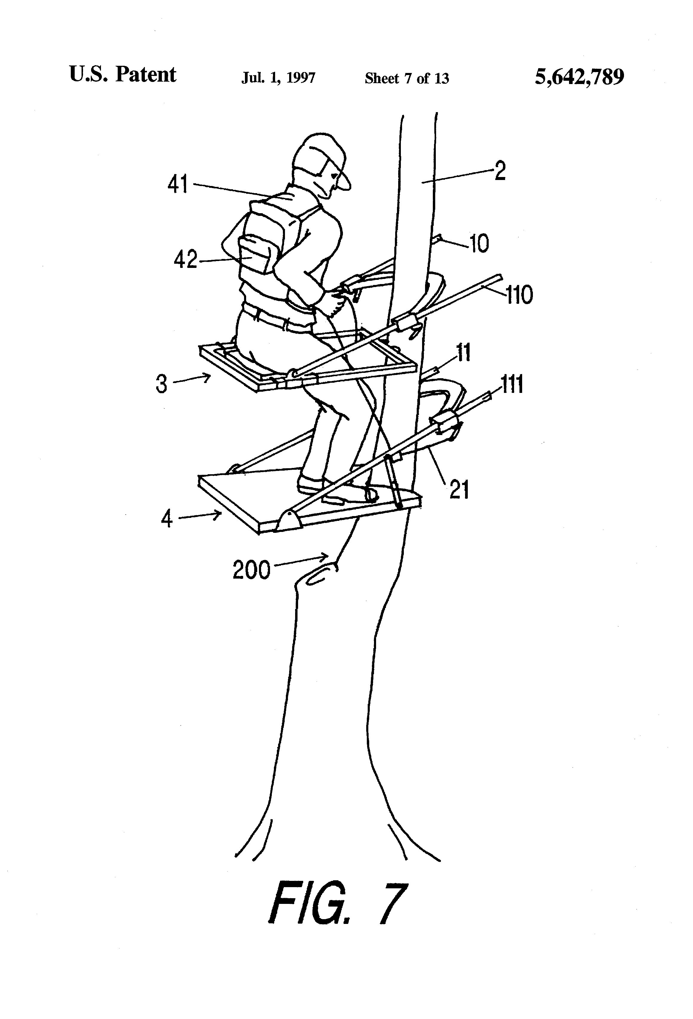 Patent Us5642789 Cam Adjustable Climbing Tree Stand