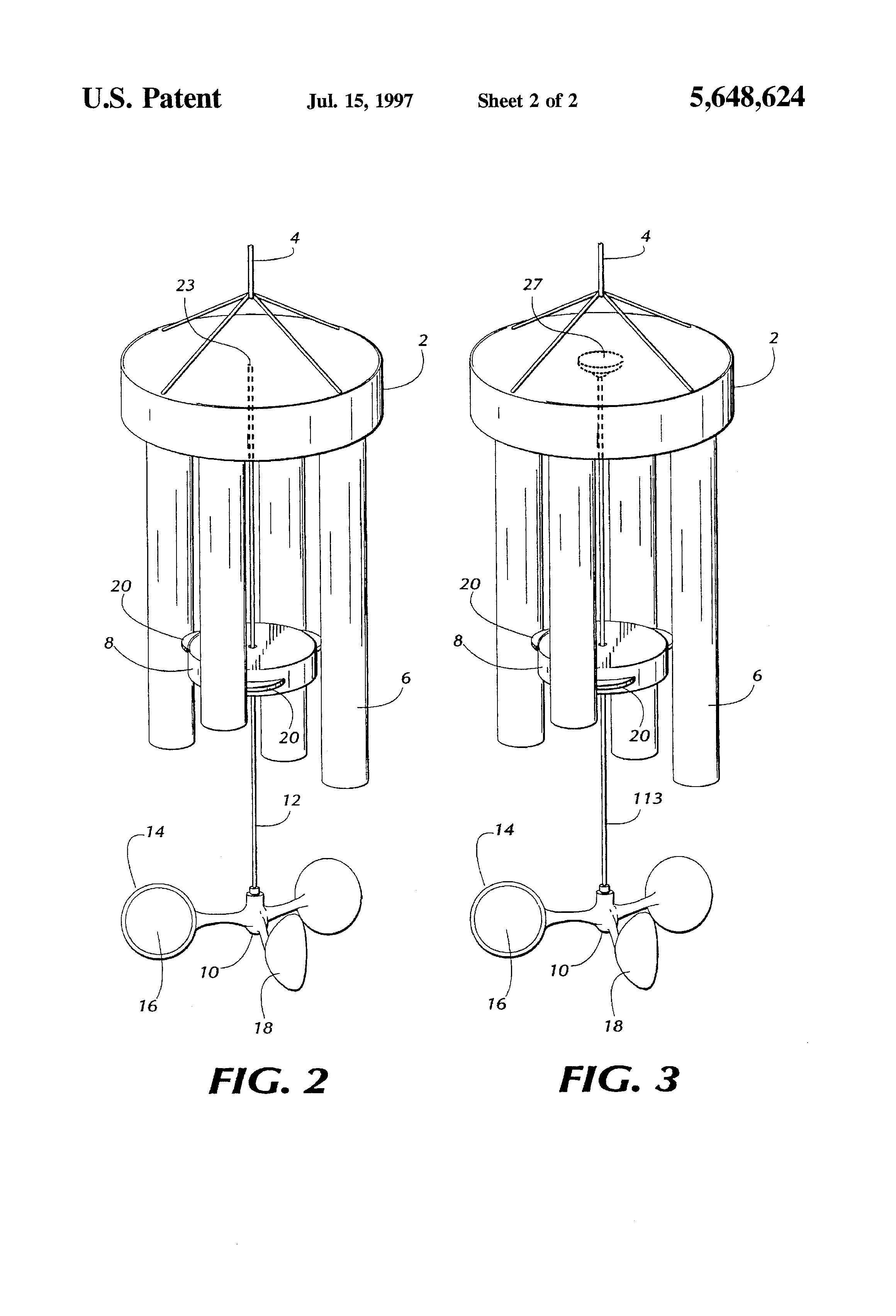 Coloring pages wind chimes ~ Patent US5648624 - Wind chime having a rotating striker ...