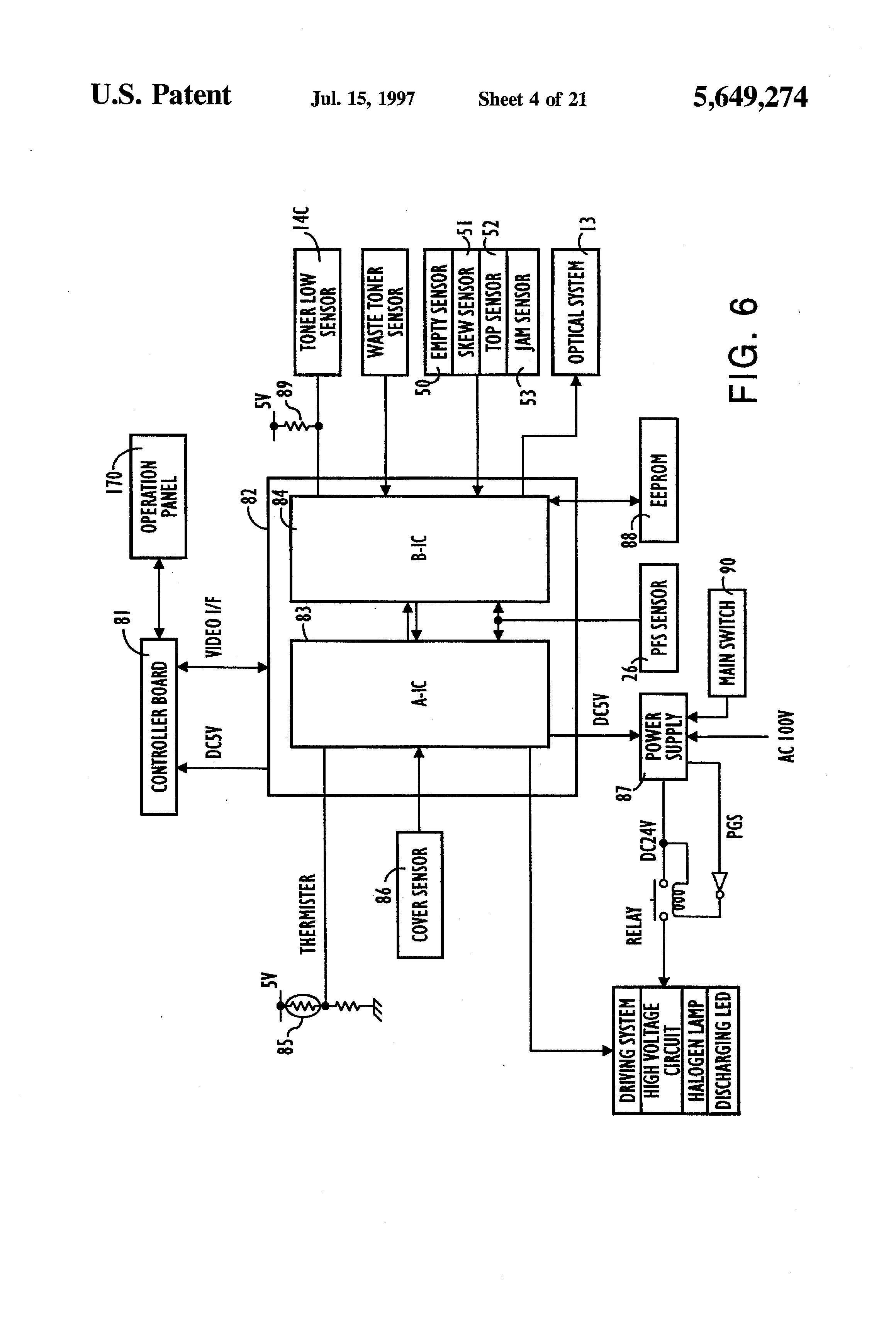 Patente Us5649274 Electrophotographic Printer Using A Continuous Block Diagram Of Patent Drawing