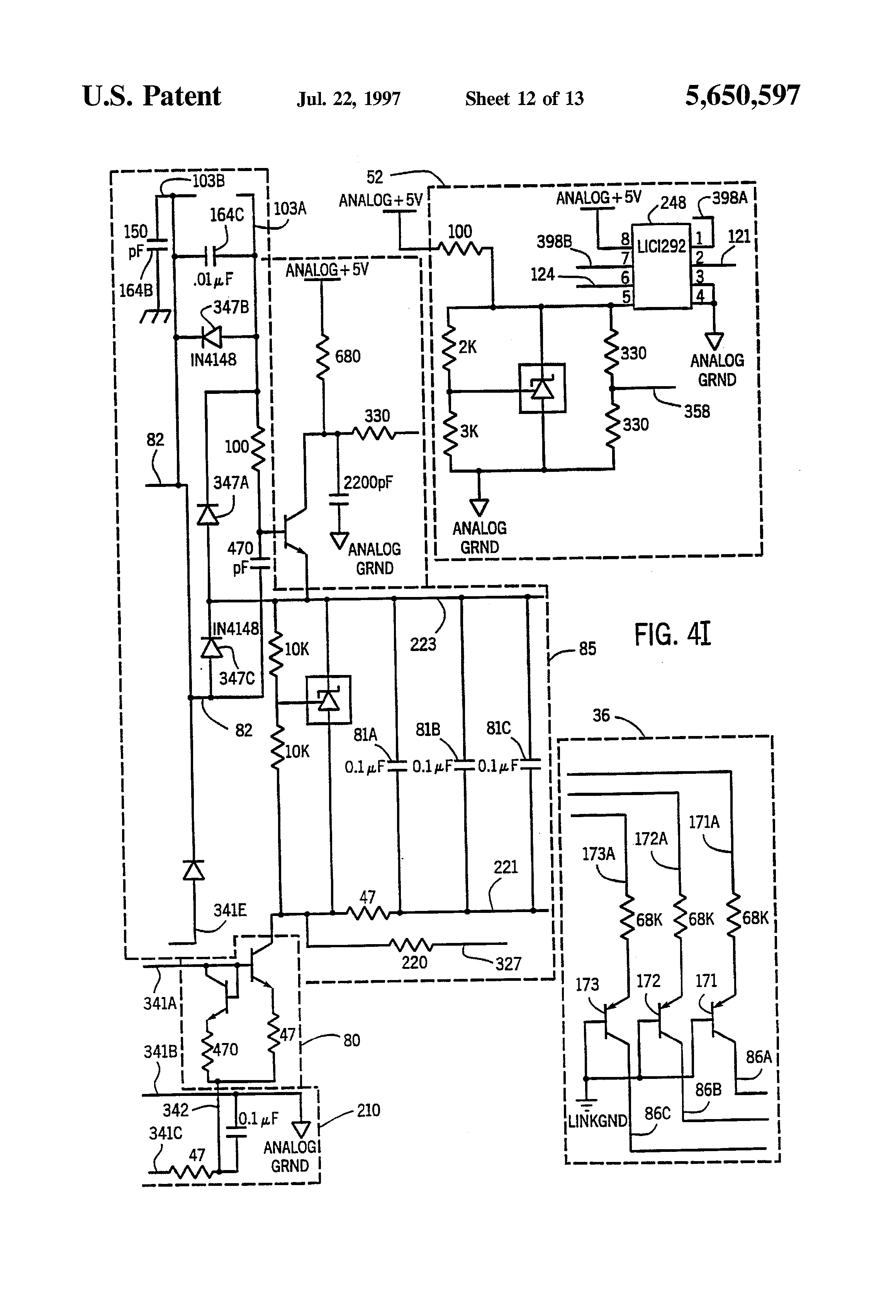 patent us5650597 - capacitive touch sensor