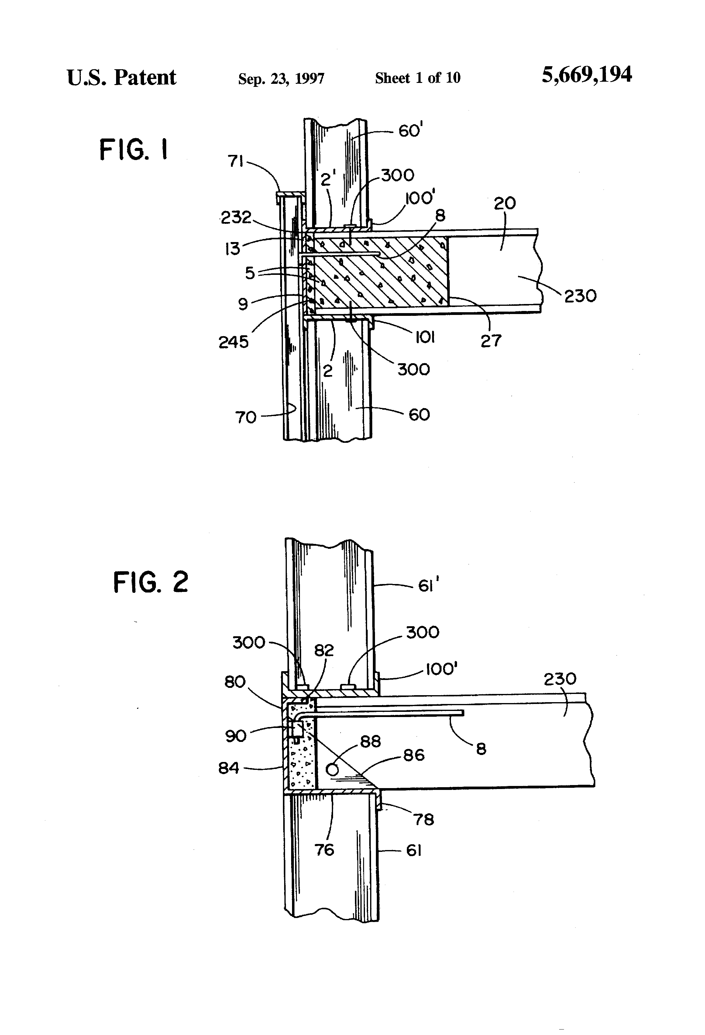 Patent Us5669194 Structural Systems For Supporting A