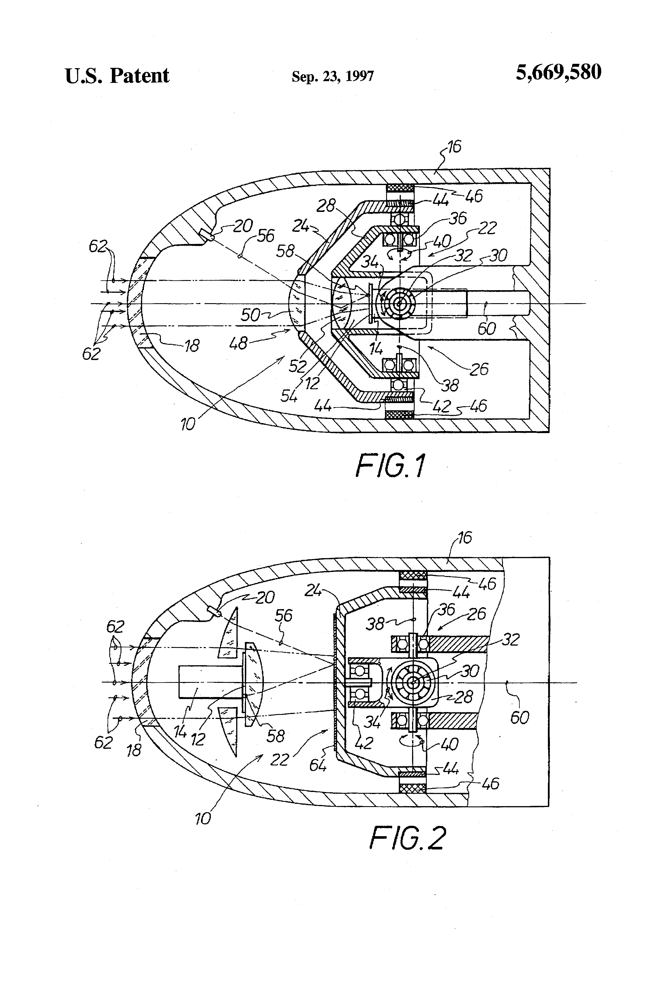 patent us5669580 - sensor device for a missile