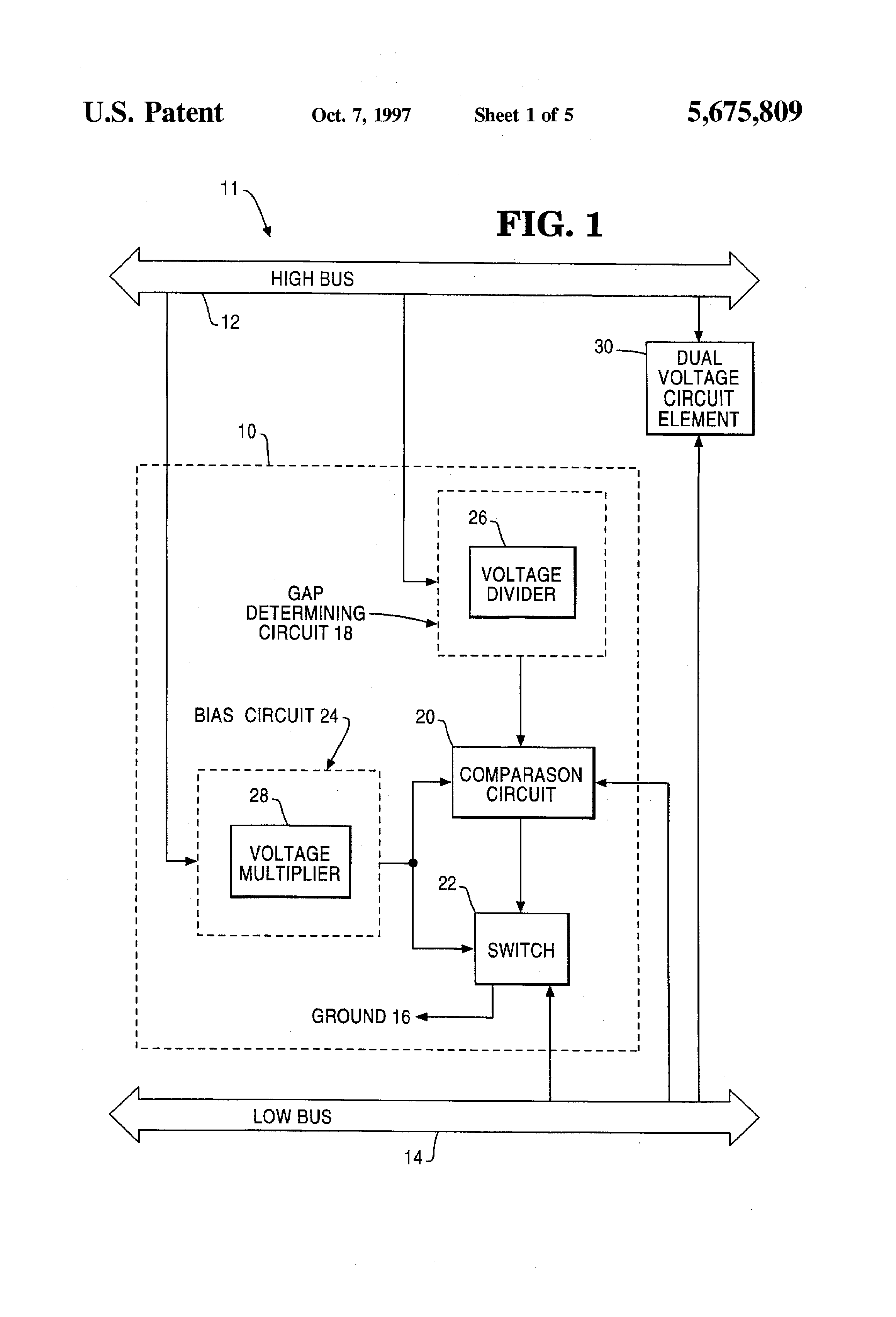 Patent Us5675809 Voltage Control Circuit For A Dual Bus Divider Controlling Drawing