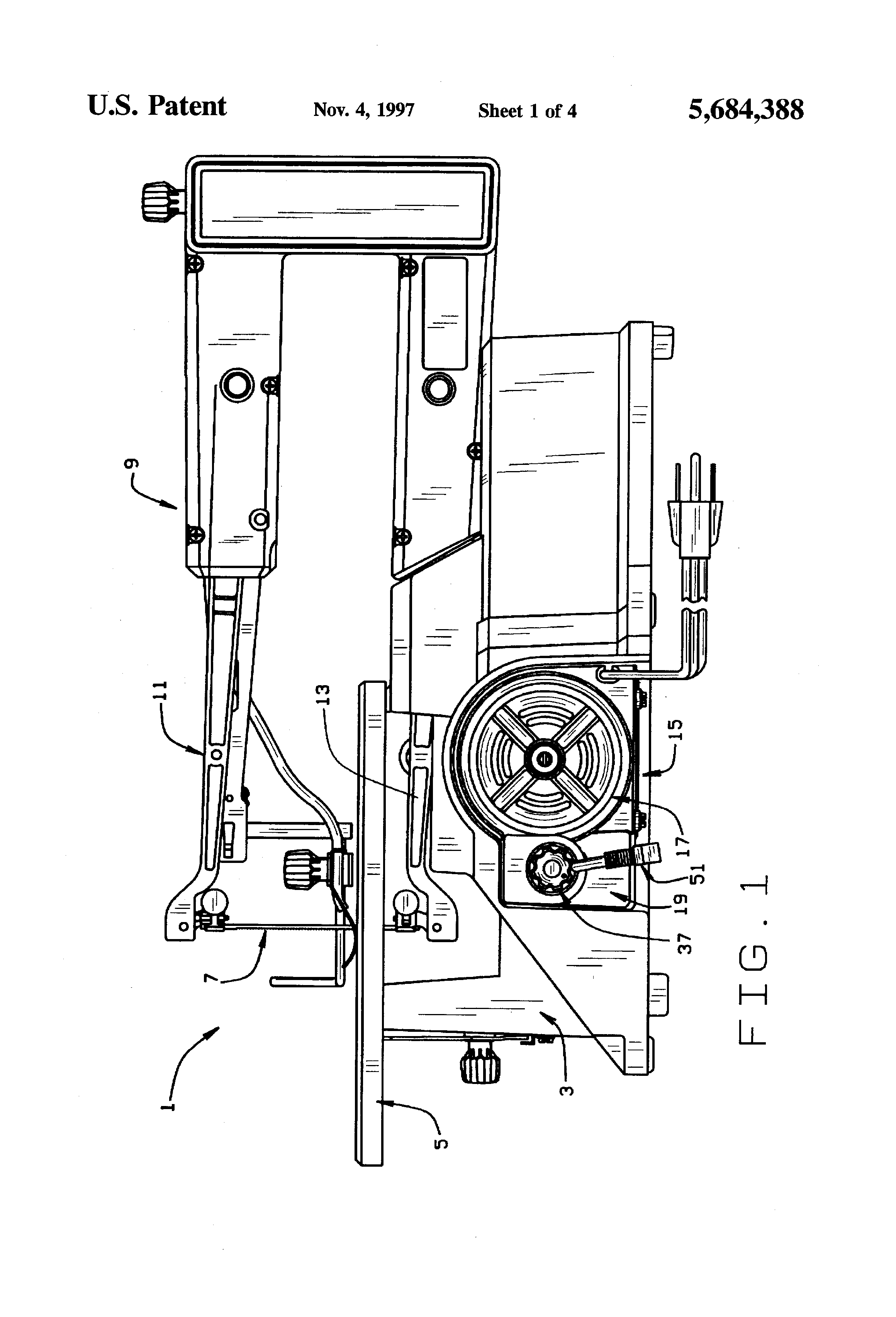 patent us5684388 - scroll saw motor  printed circuit board housing with switch lock-out