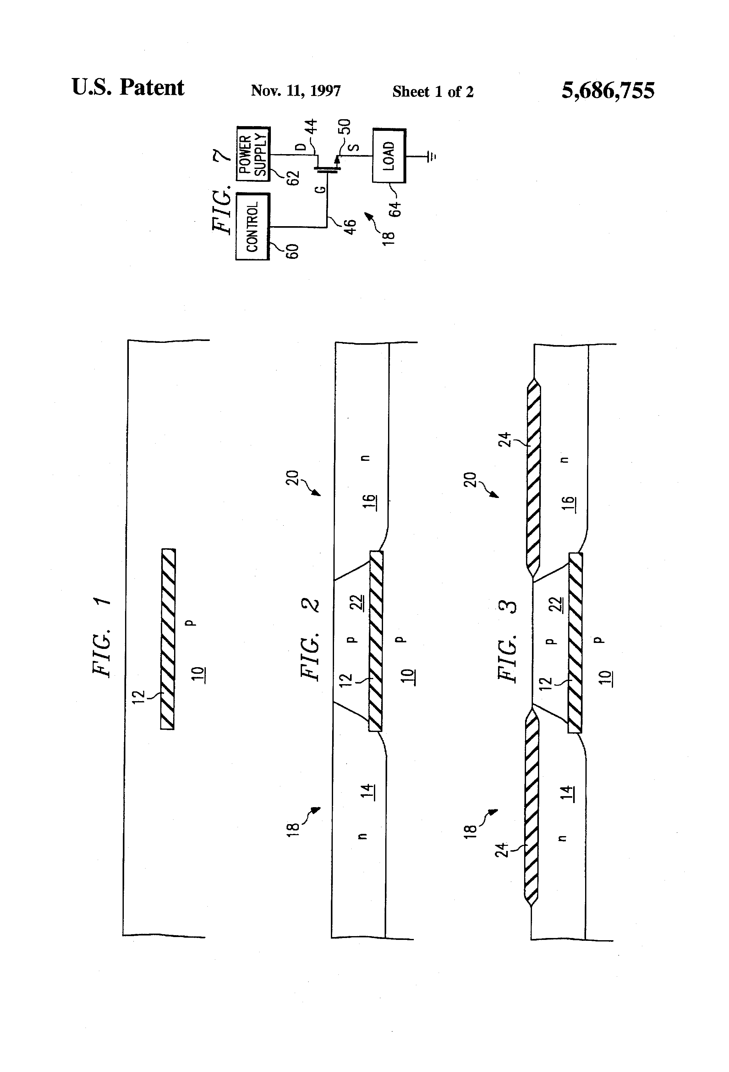 Patent US5686755 - LDMOS resurf high voltage transistor