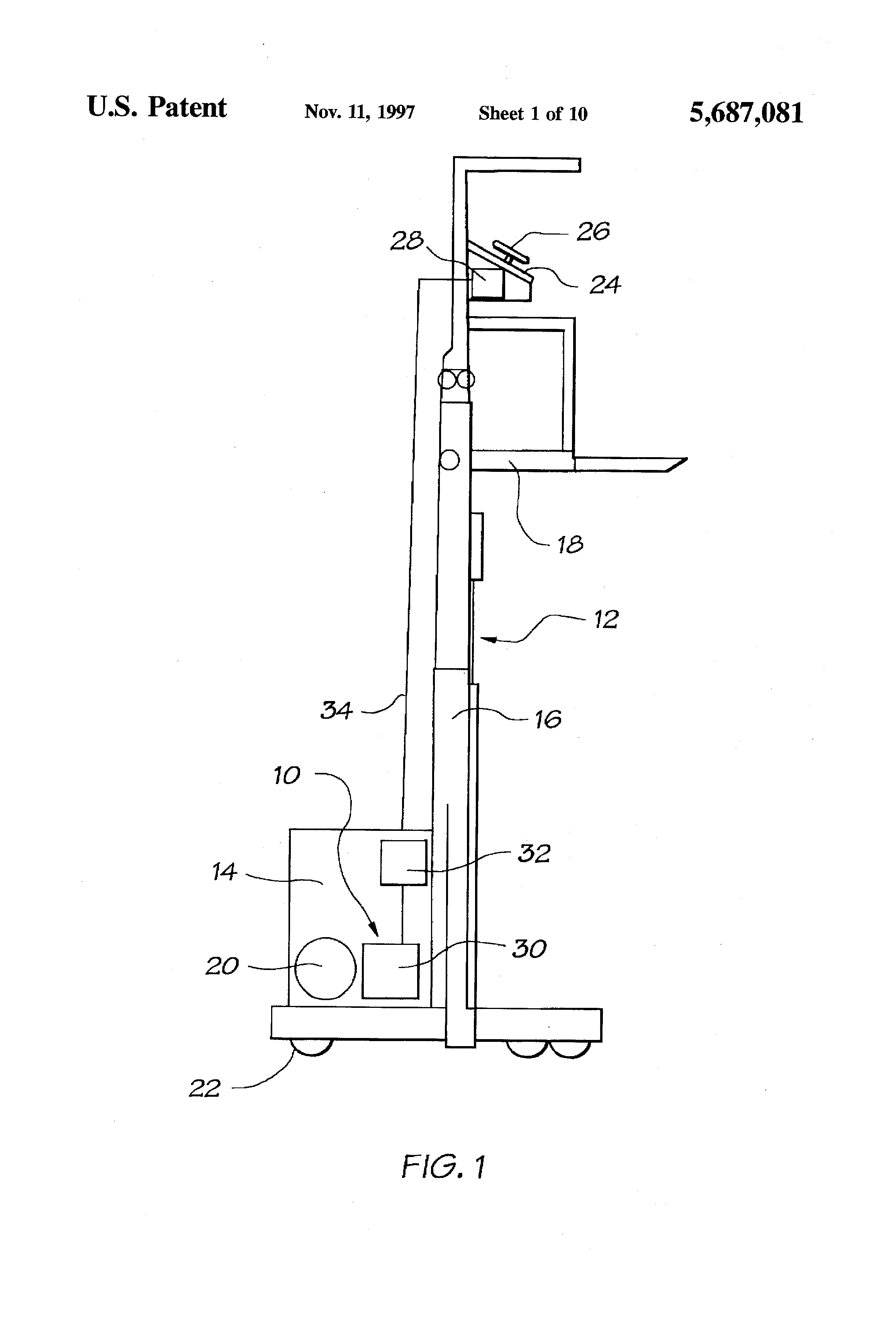 patent us5687081 - lift truck control system