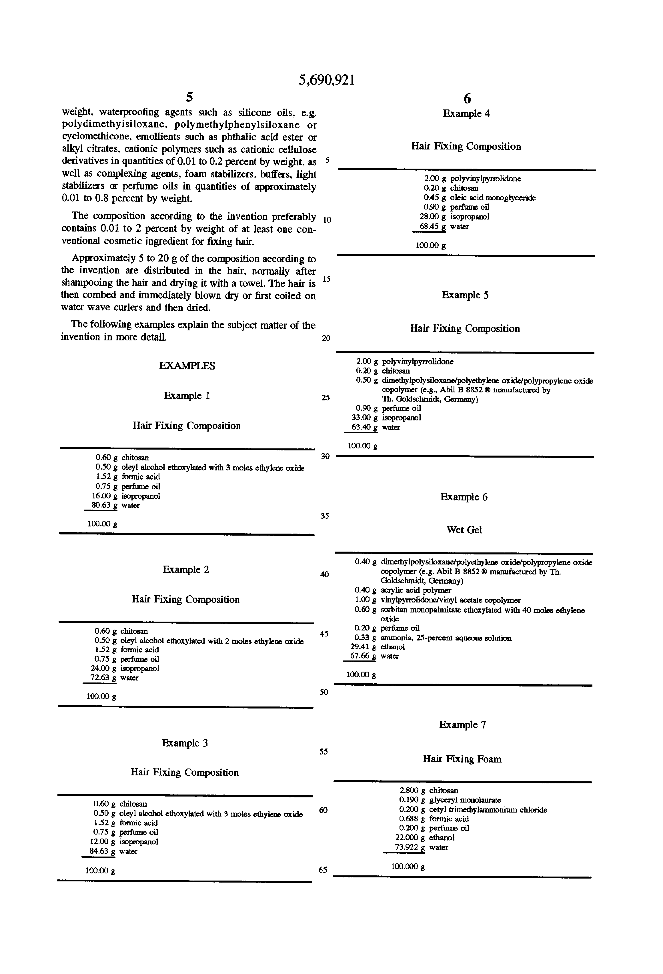 Patent US5690921 - Hair fixing composition in the form of an aqueous