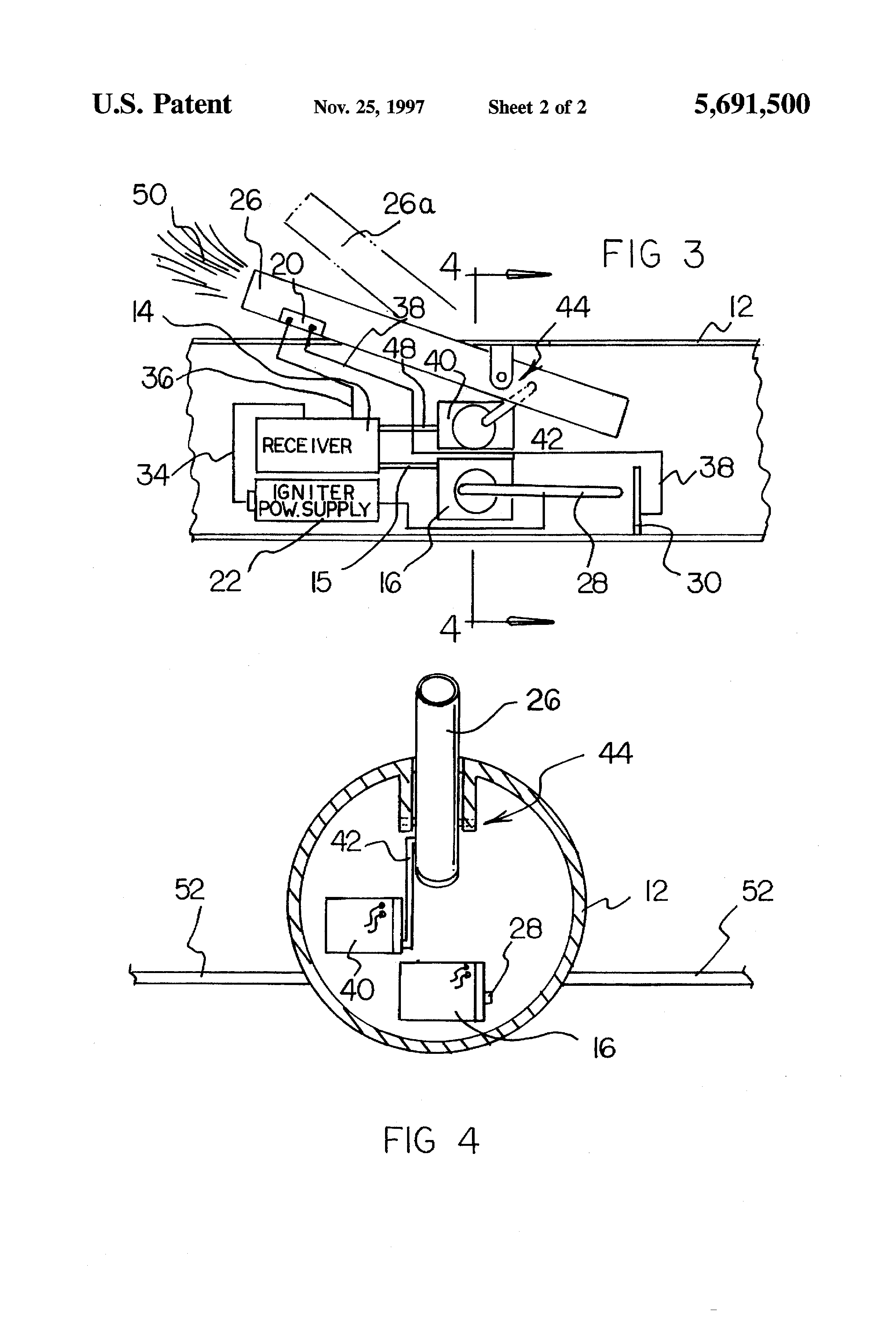 patent us5691500 remotely actuated fireworks launcher apparatus Satellite Receiver Signal patent drawing